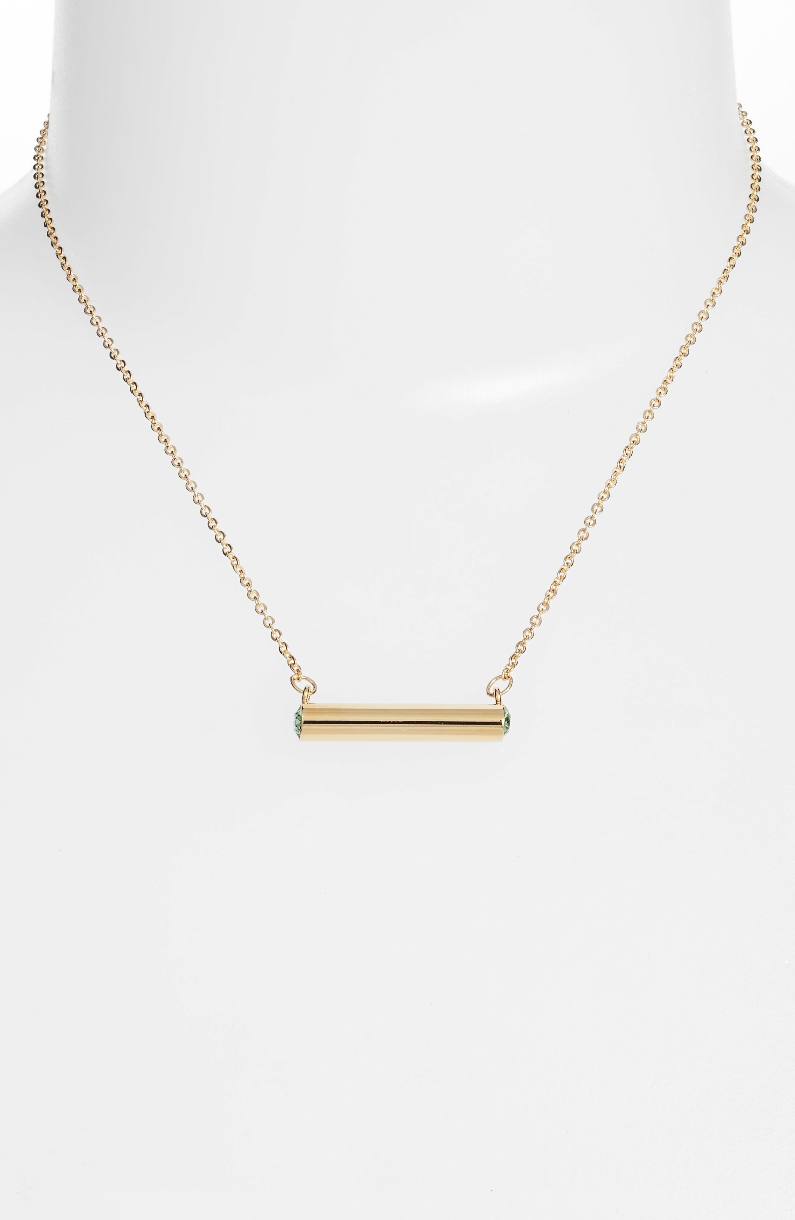 August Crystal Bar Pendant Necklace,                             Alternate thumbnail 4, color,