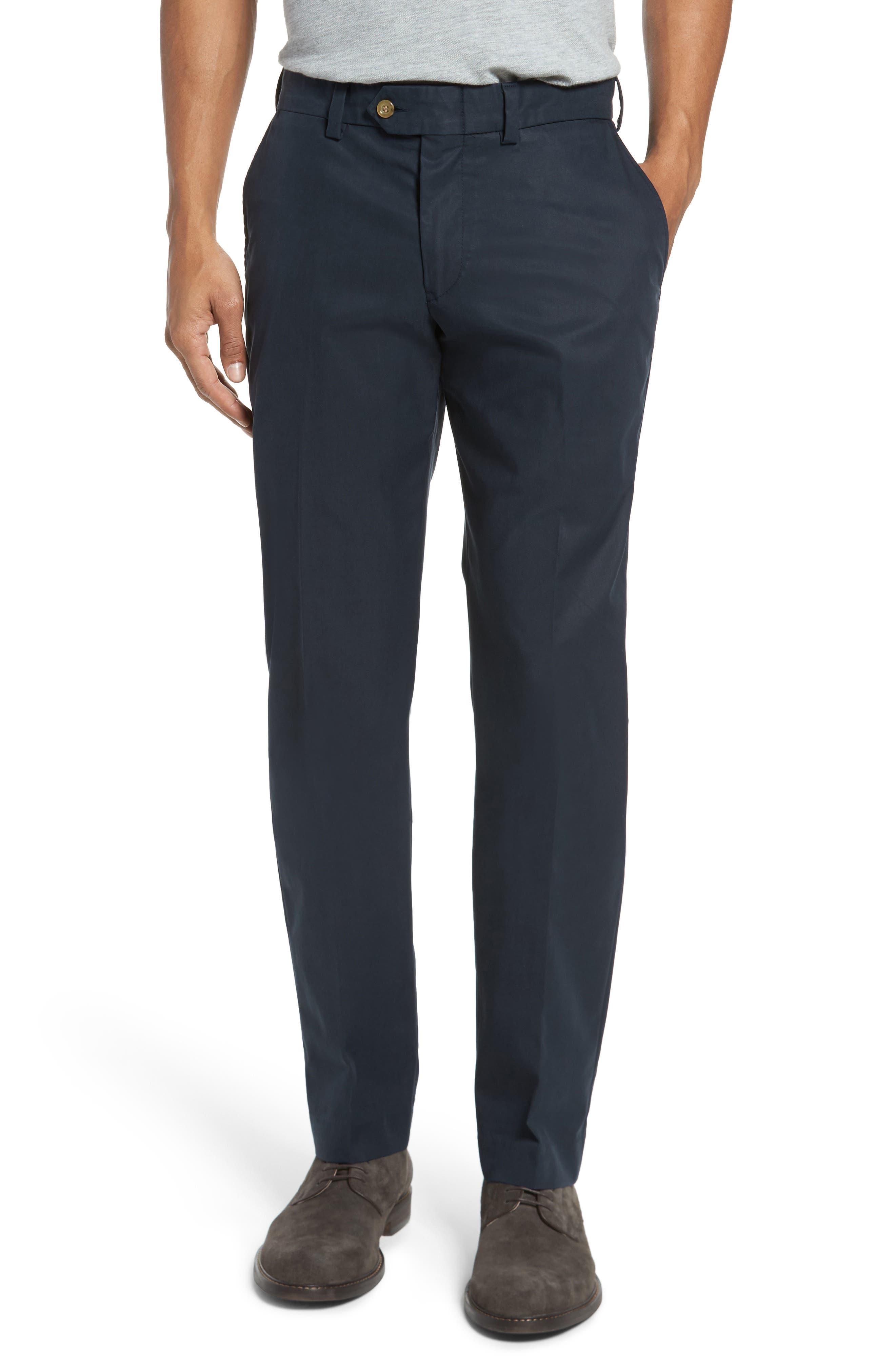 Bills Khakis Straight Fit Travel Twill Pants, Unhemmed - Blue