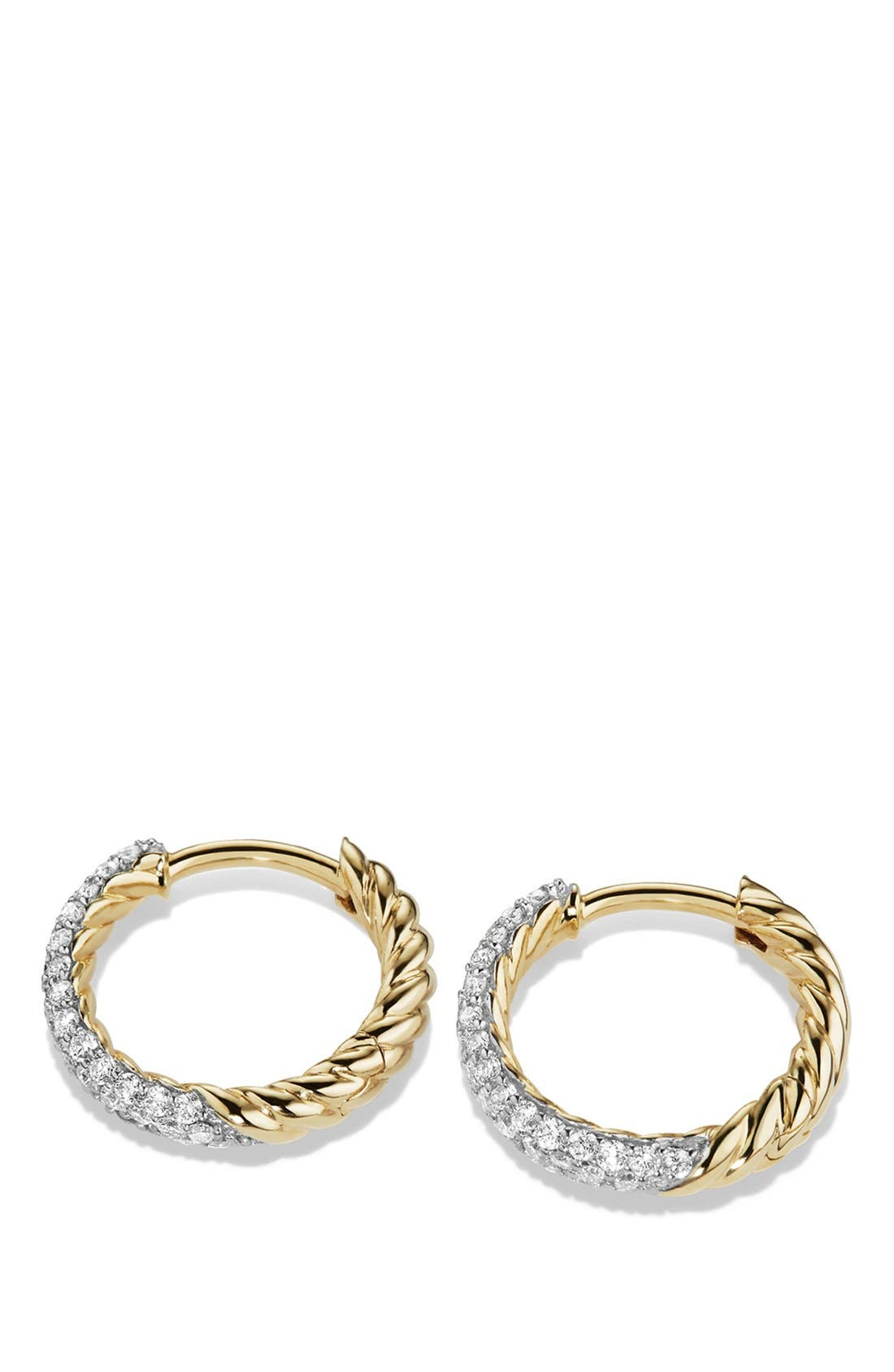 'Petite Pavé' Earrings with Diamonds in 18K Gold,                             Alternate thumbnail 3, color,                             GOLD