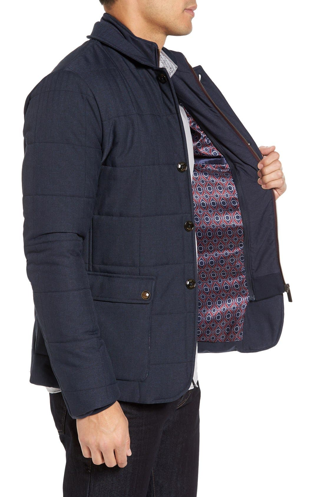 Jasper Trim Fit Quilted Jacket with Removable Bib,                             Alternate thumbnail 14, color,