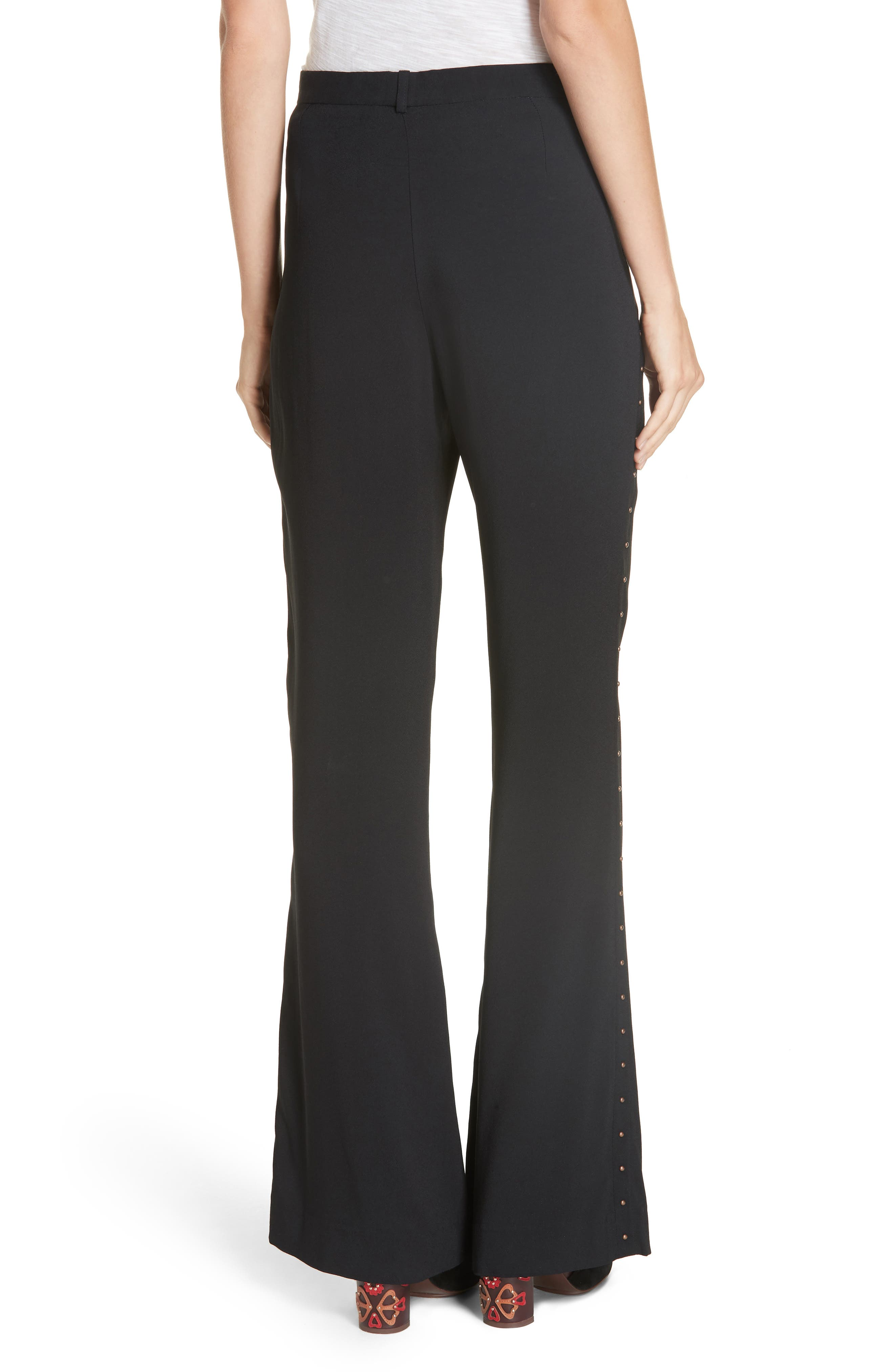 Studded Wide Leg Trousers,                             Alternate thumbnail 2, color,                             BLACK