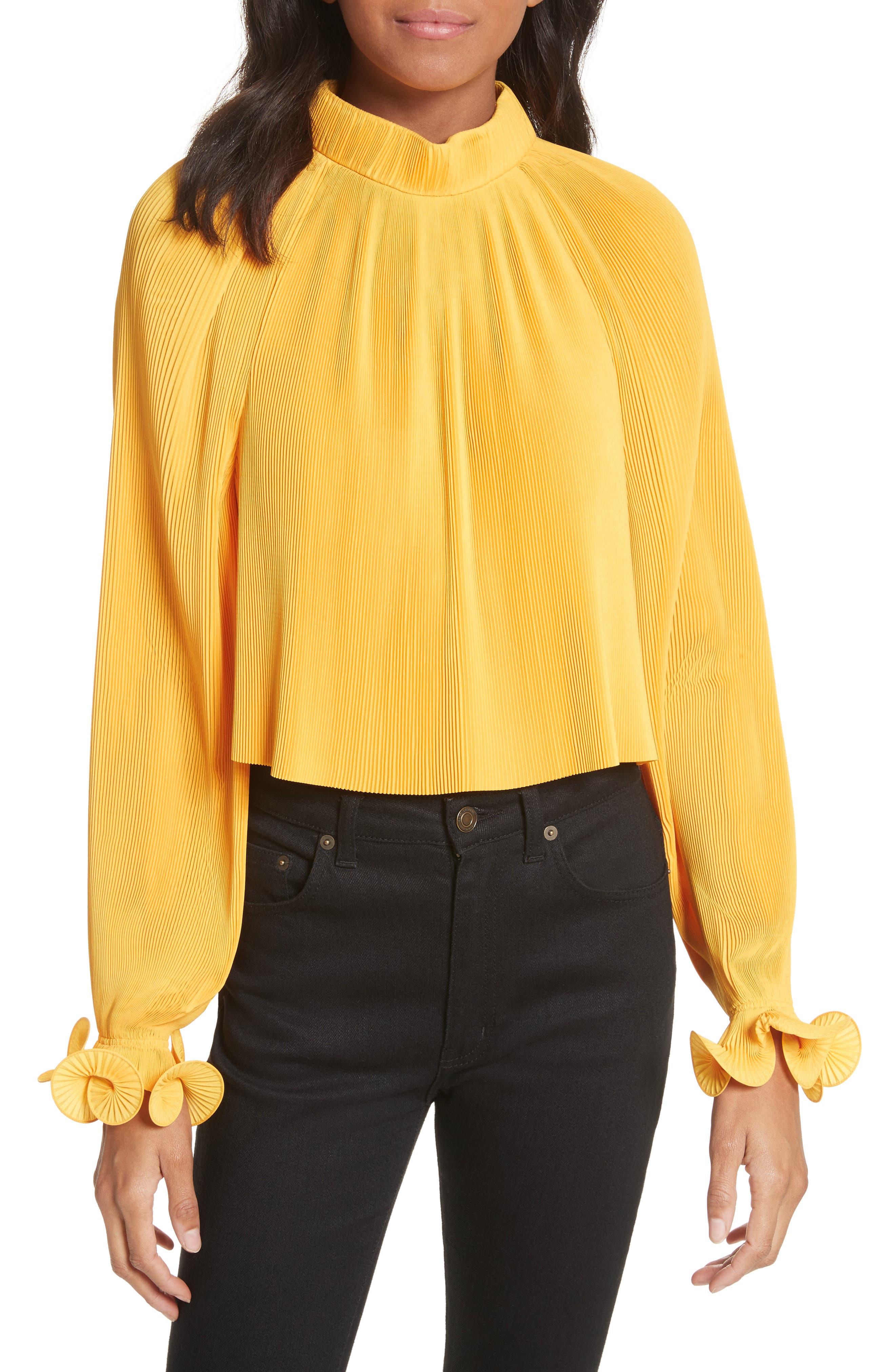 Pleated Crop Top,                             Main thumbnail 5, color,