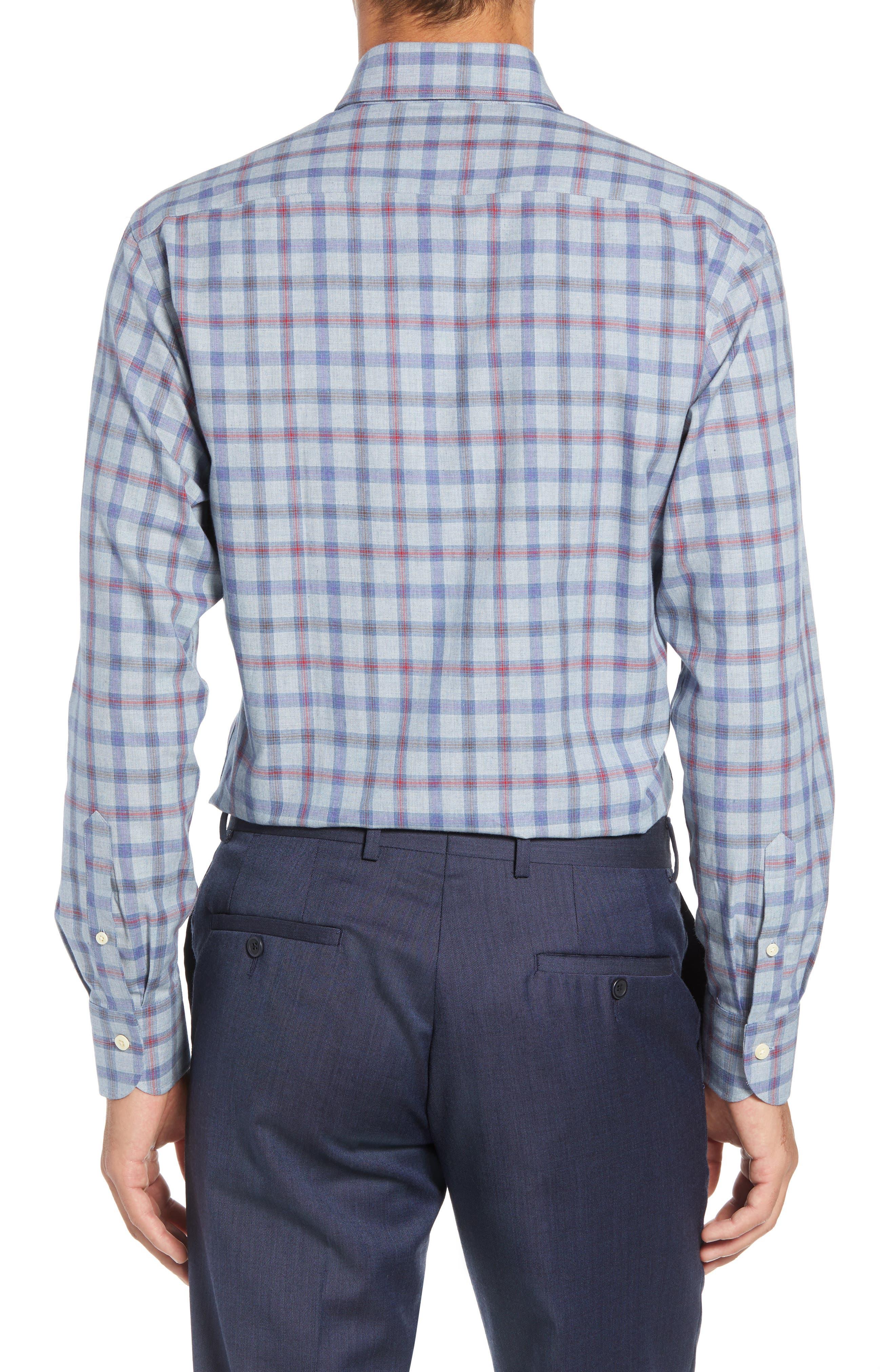 Hilbank Trim Fit Check Dress Shirt,                             Alternate thumbnail 3, color,                             CADET BLUE