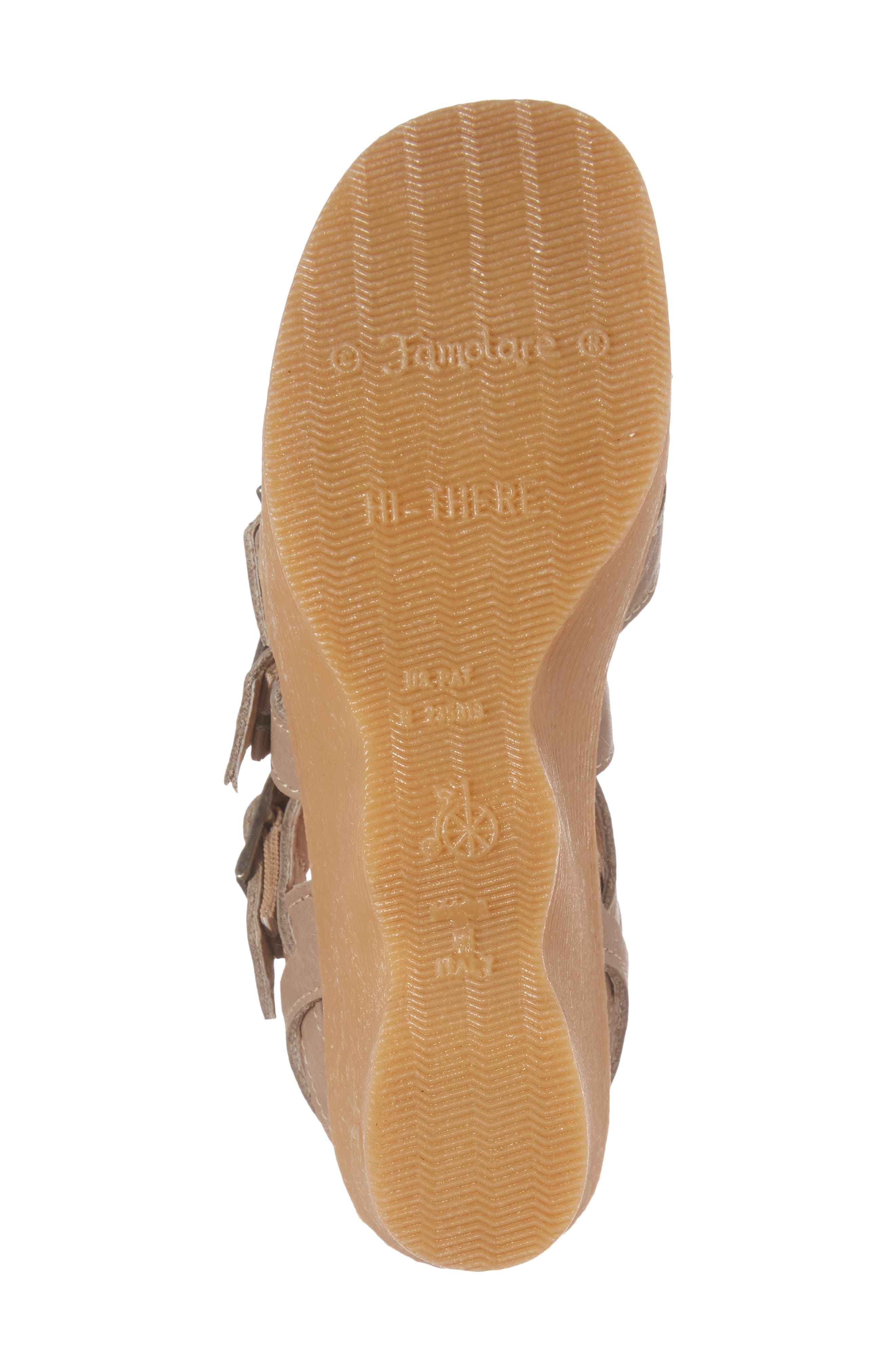 Buckle Up Wedge Sandal,                             Alternate thumbnail 6, color,                             SAND LEATHER