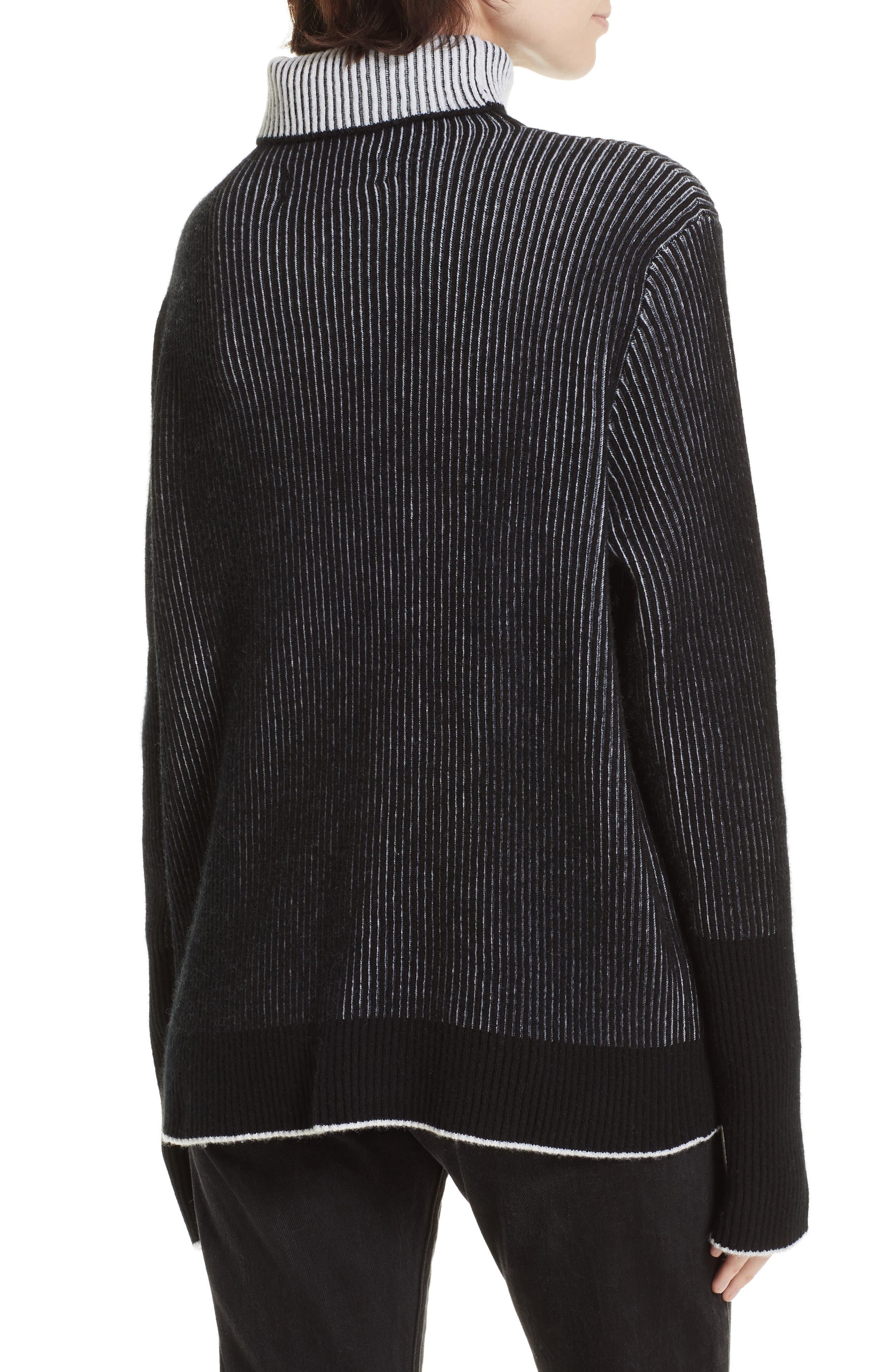 AAA Turtleneck Cashmere Sweater,                             Alternate thumbnail 2, color,                             BLACK/ CREAM