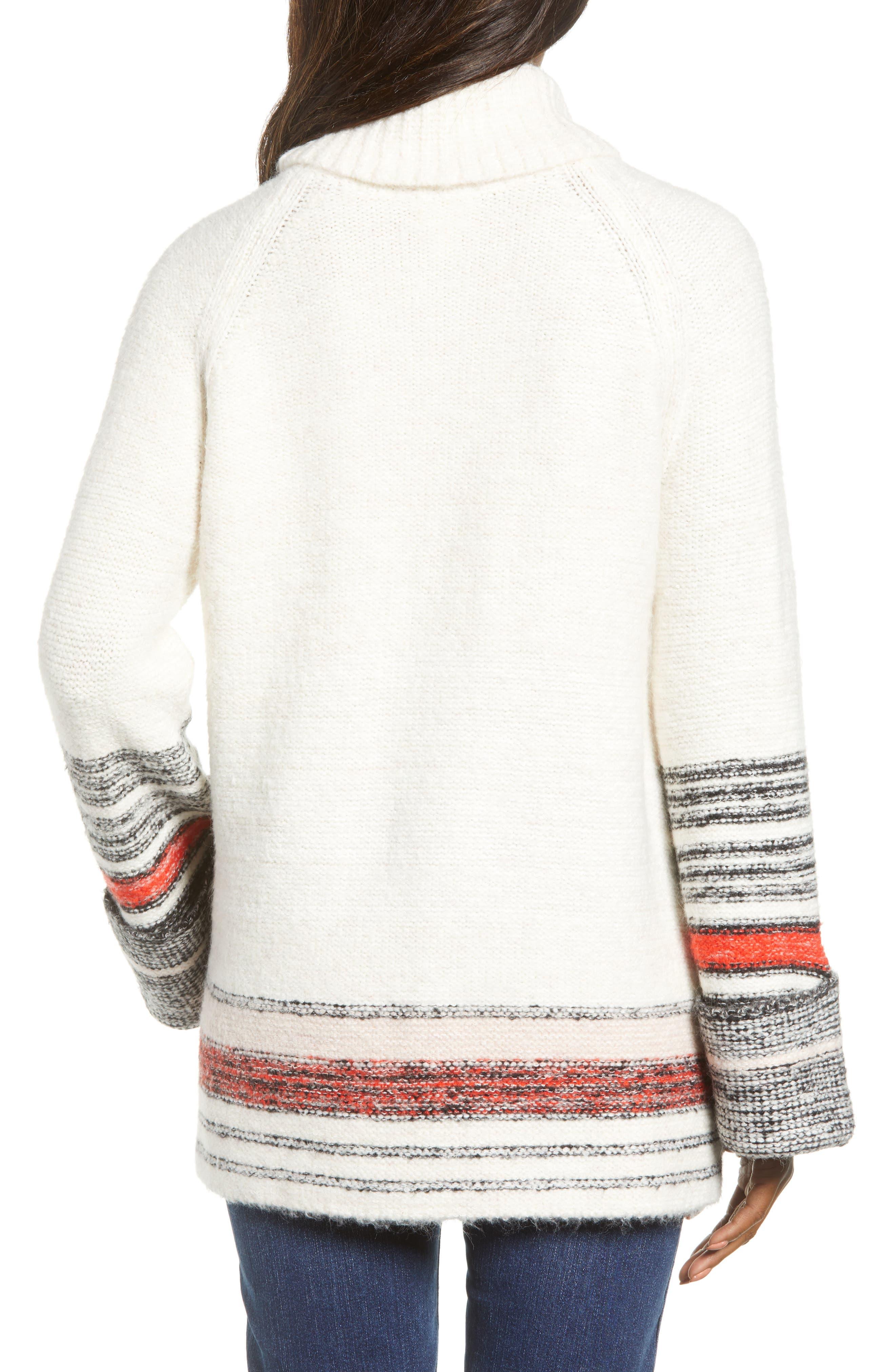 Border Stripe Sweater,                             Alternate thumbnail 2, color,                             IVORY COMBO