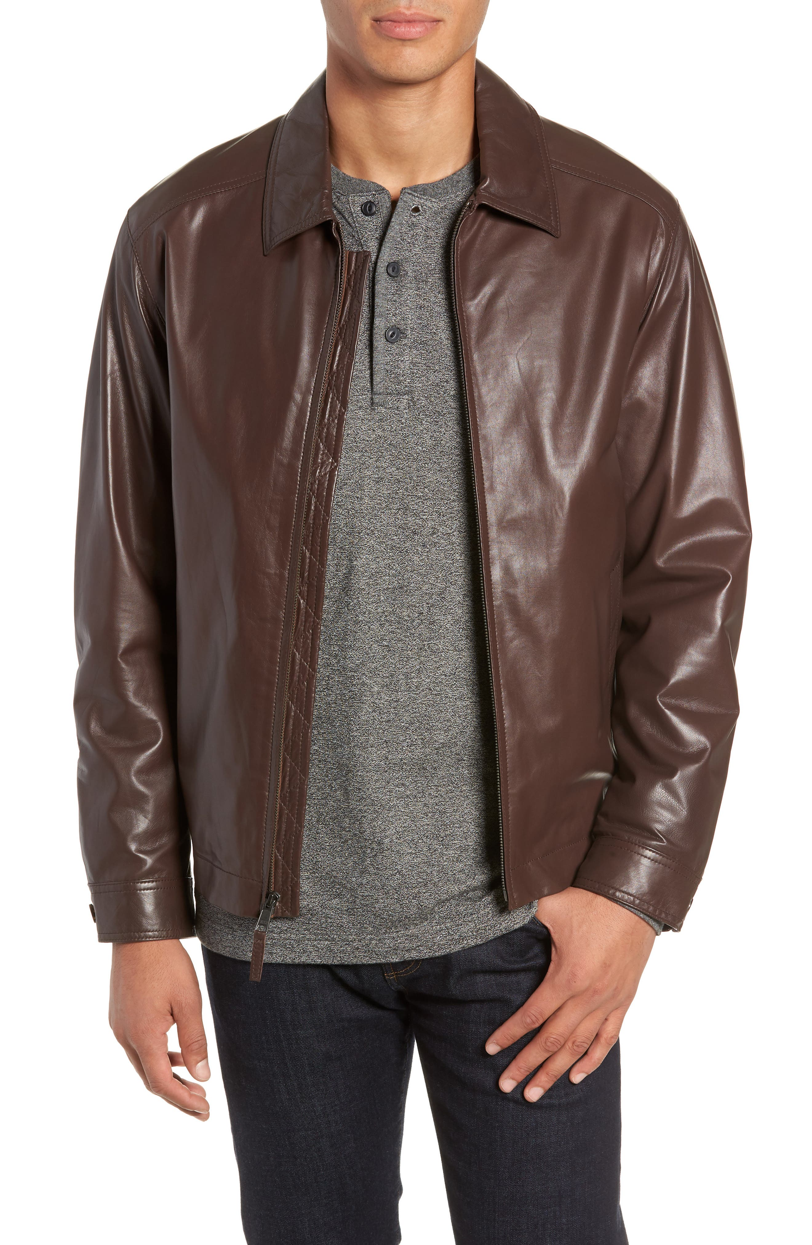 GOLDEN BEAR The Bartlett Leather Jacket, Main, color, DARK BROWN