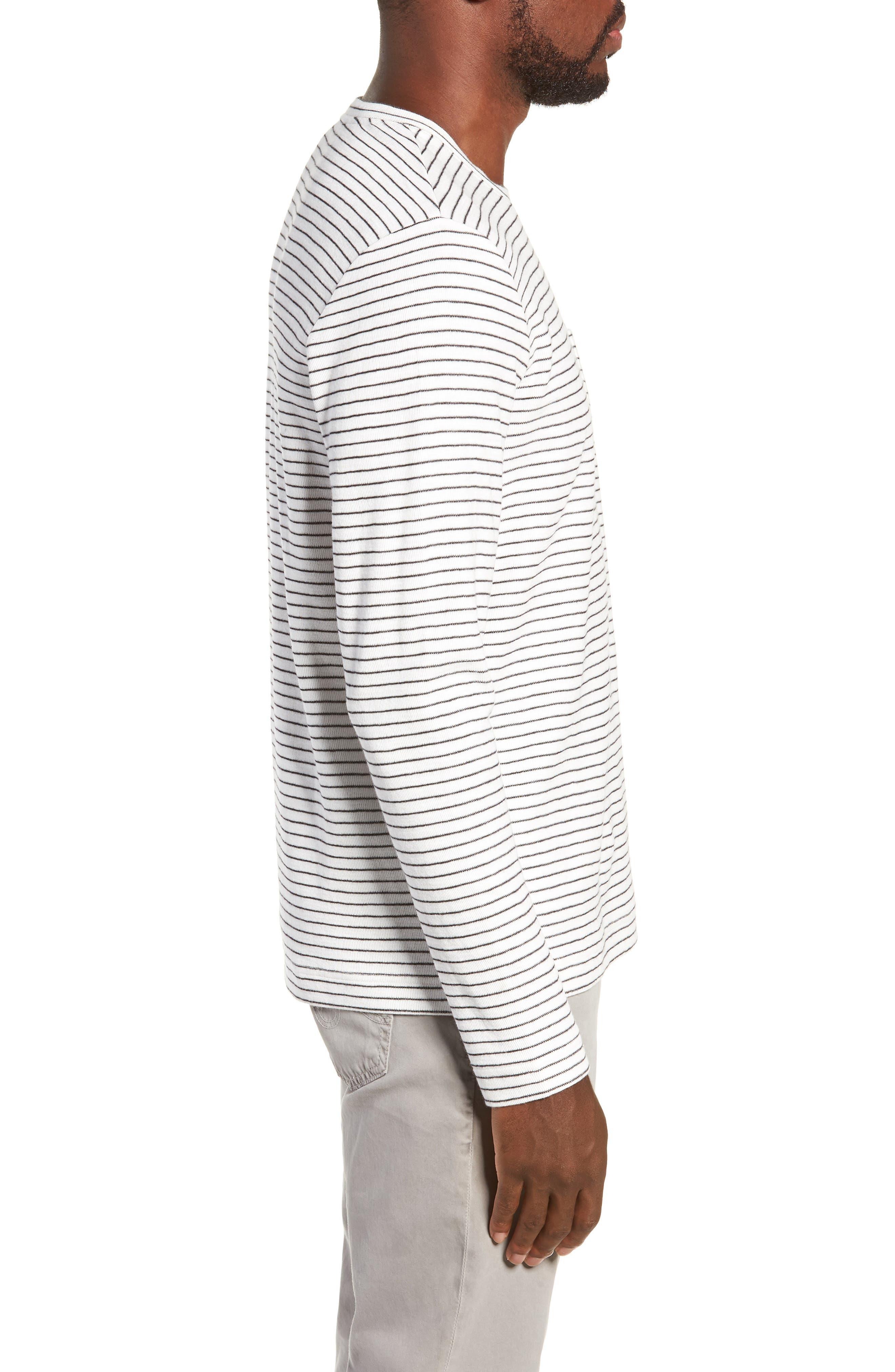 Stripe Long Sleeve Pocket T-Shirt,                             Alternate thumbnail 3, color,                             NATURAL