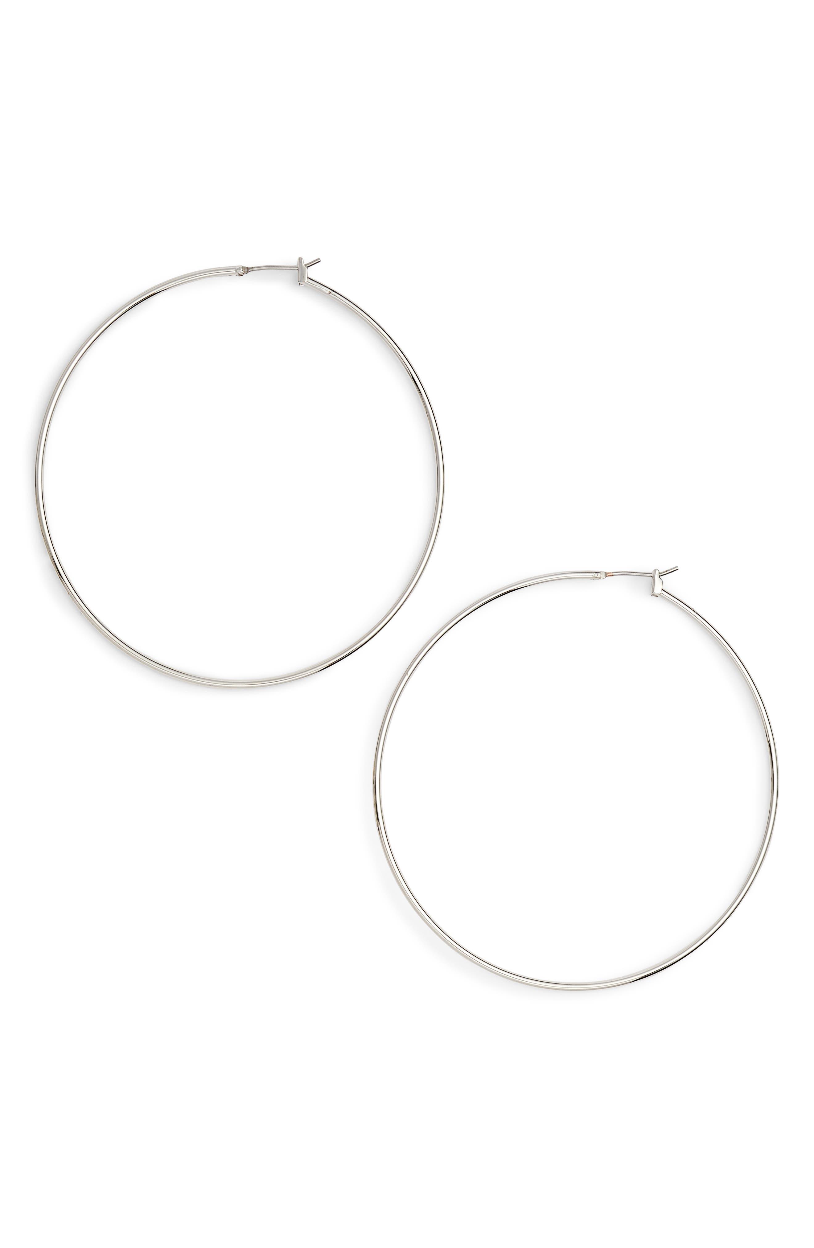 Classic Thin Hoop Earrings,                             Main thumbnail 1, color,                             RHODIUM