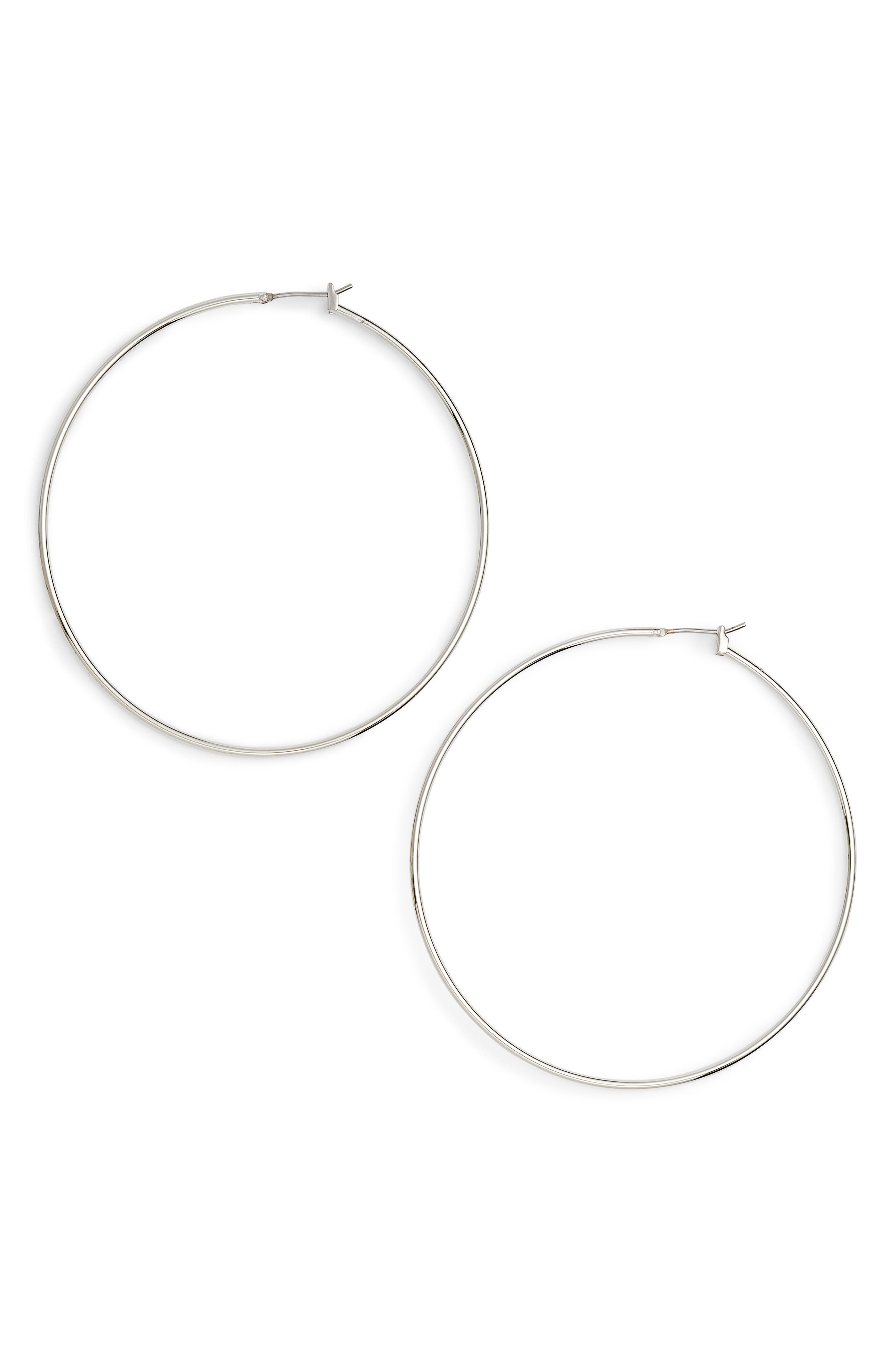 Classic Thin Hoop Earrings,                         Main,                         color, RHODIUM