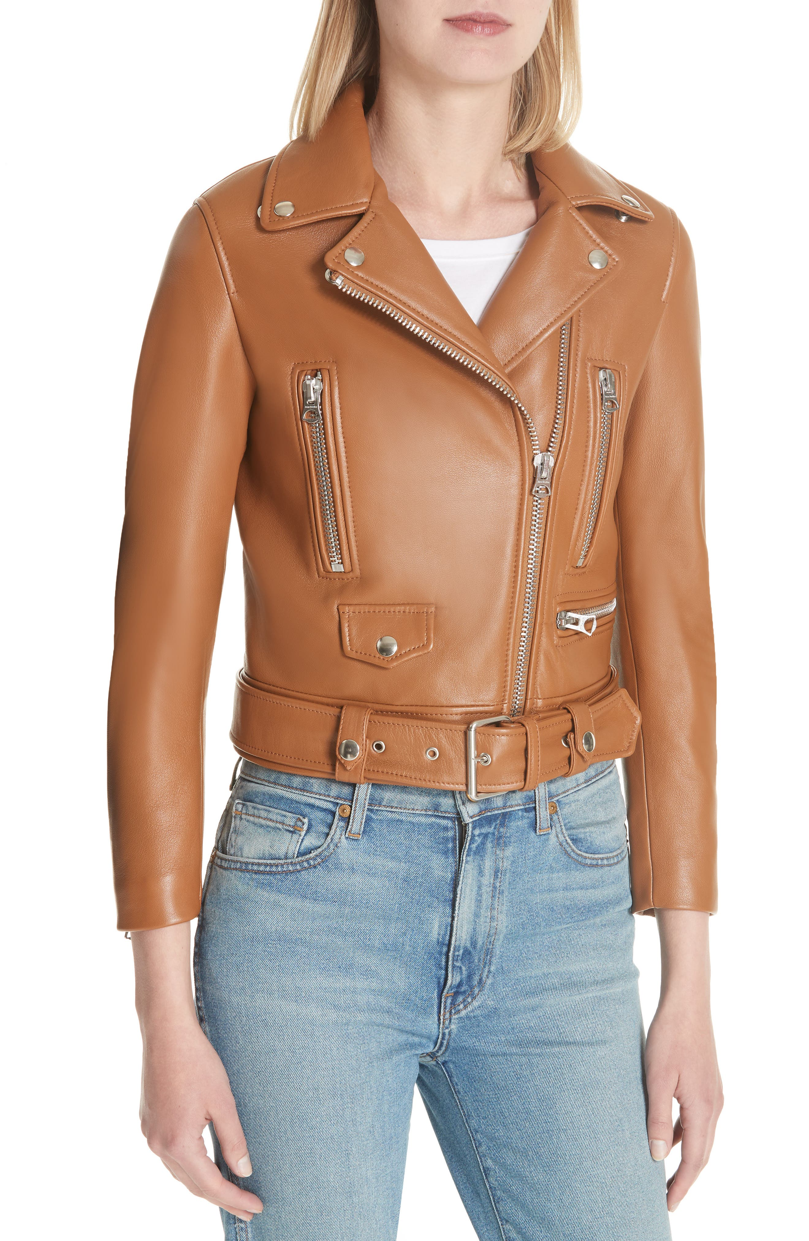 Mock Core Leather Moto Jacket,                             Alternate thumbnail 4, color,                             200
