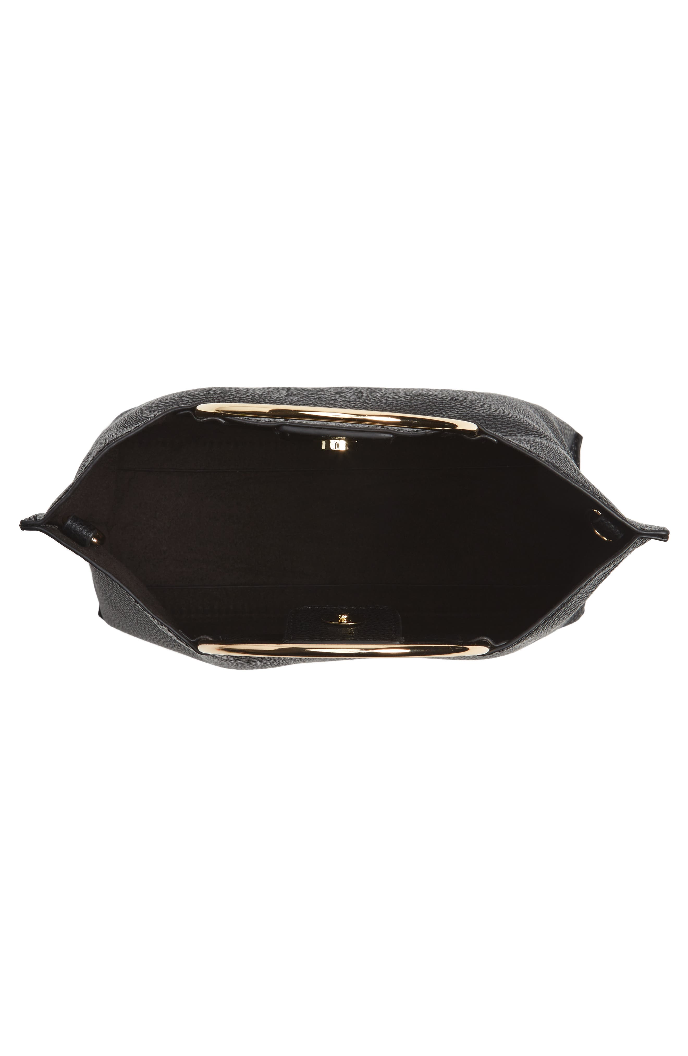 Metal Handle Faux Leather Crossbody Bag,                             Alternate thumbnail 11, color,