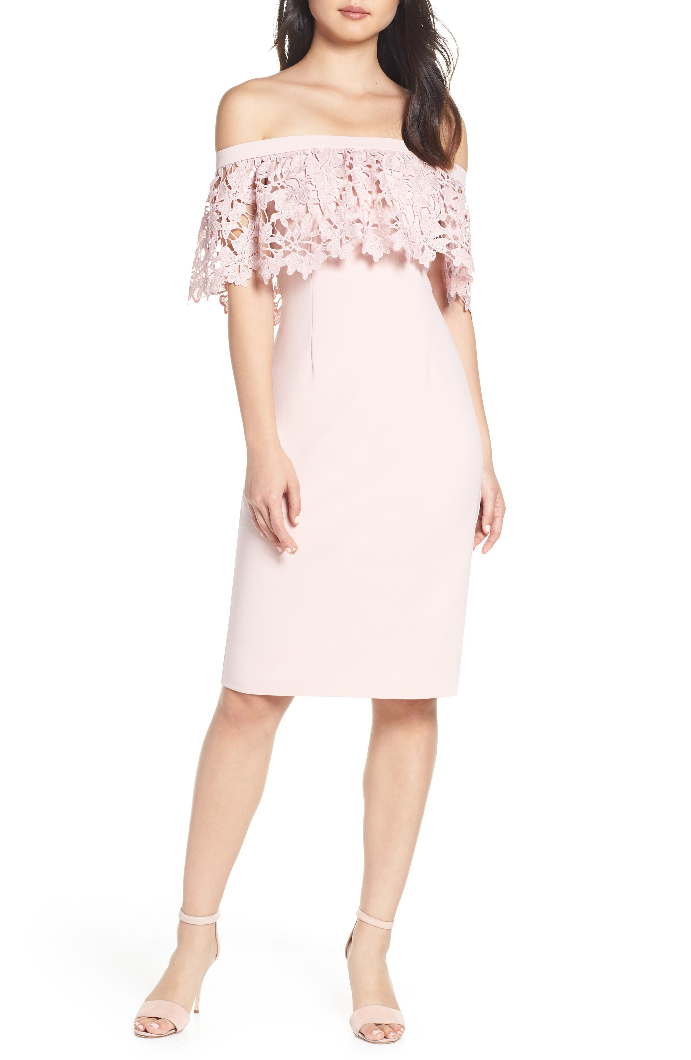 ELIZA J Off the Shoulder Sheath Dress, Main, color, BLUSH