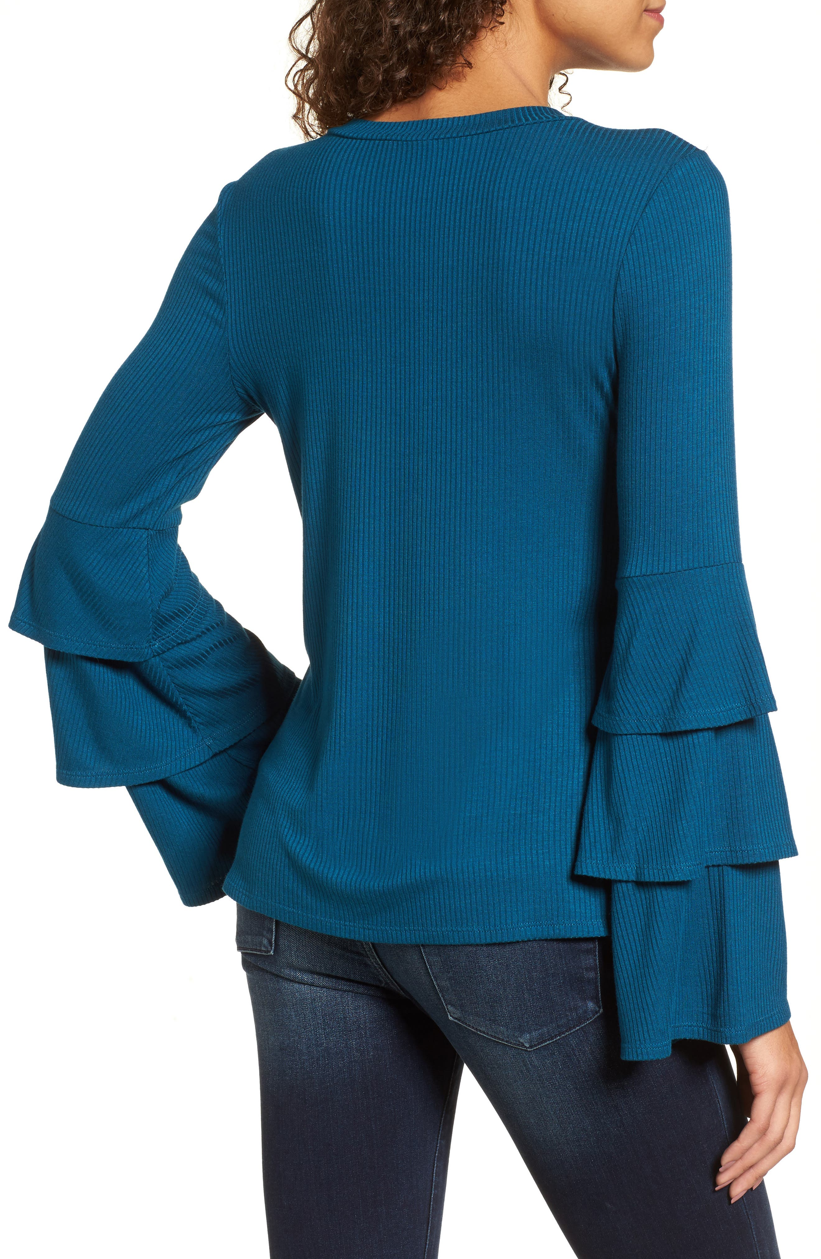 Ruffle Sleeve Ribbed Sweater,                             Alternate thumbnail 7, color,