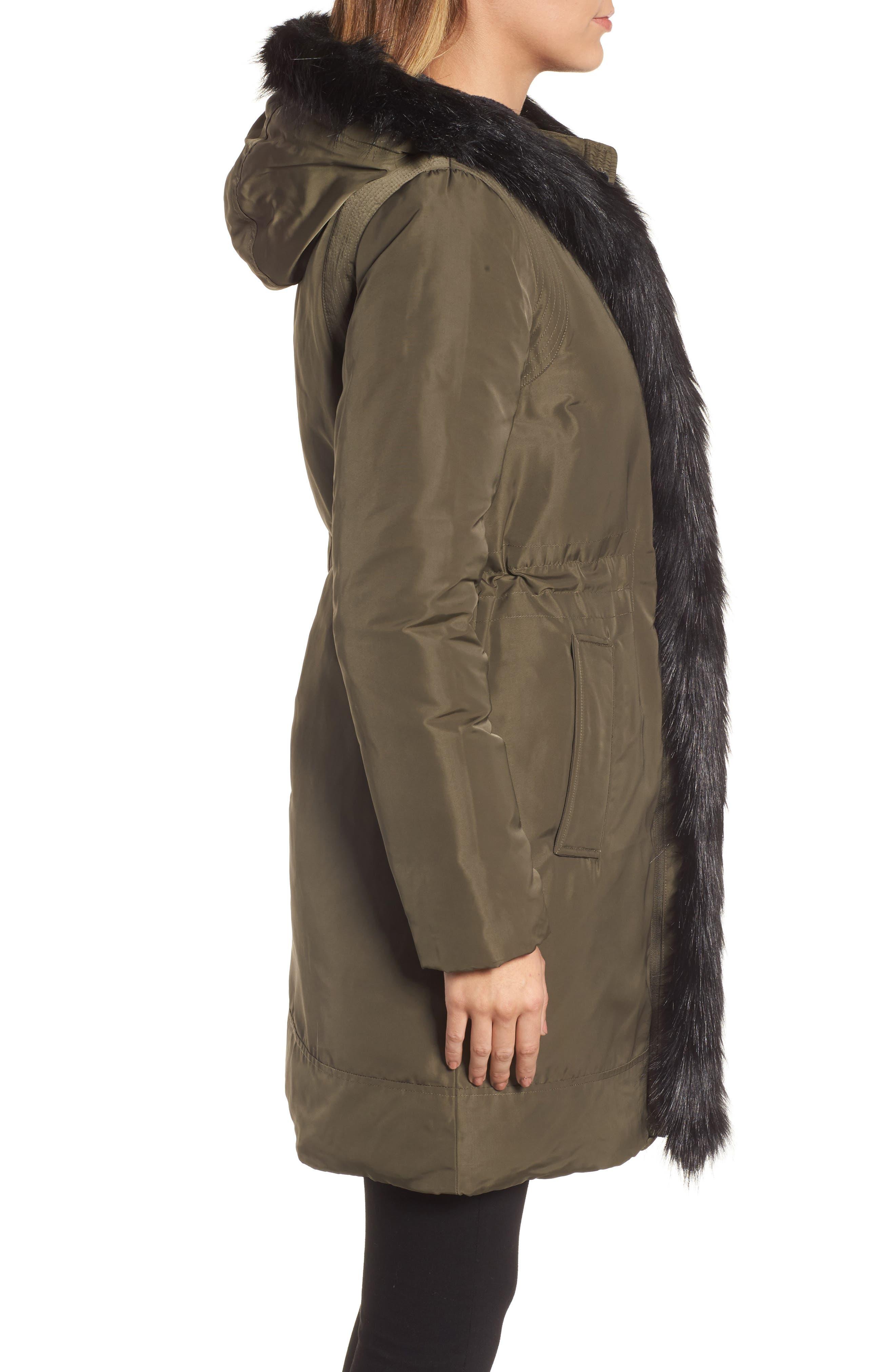 DKNY Prato Faux Fur Trim Down Parka,                             Alternate thumbnail 3, color,                             317
