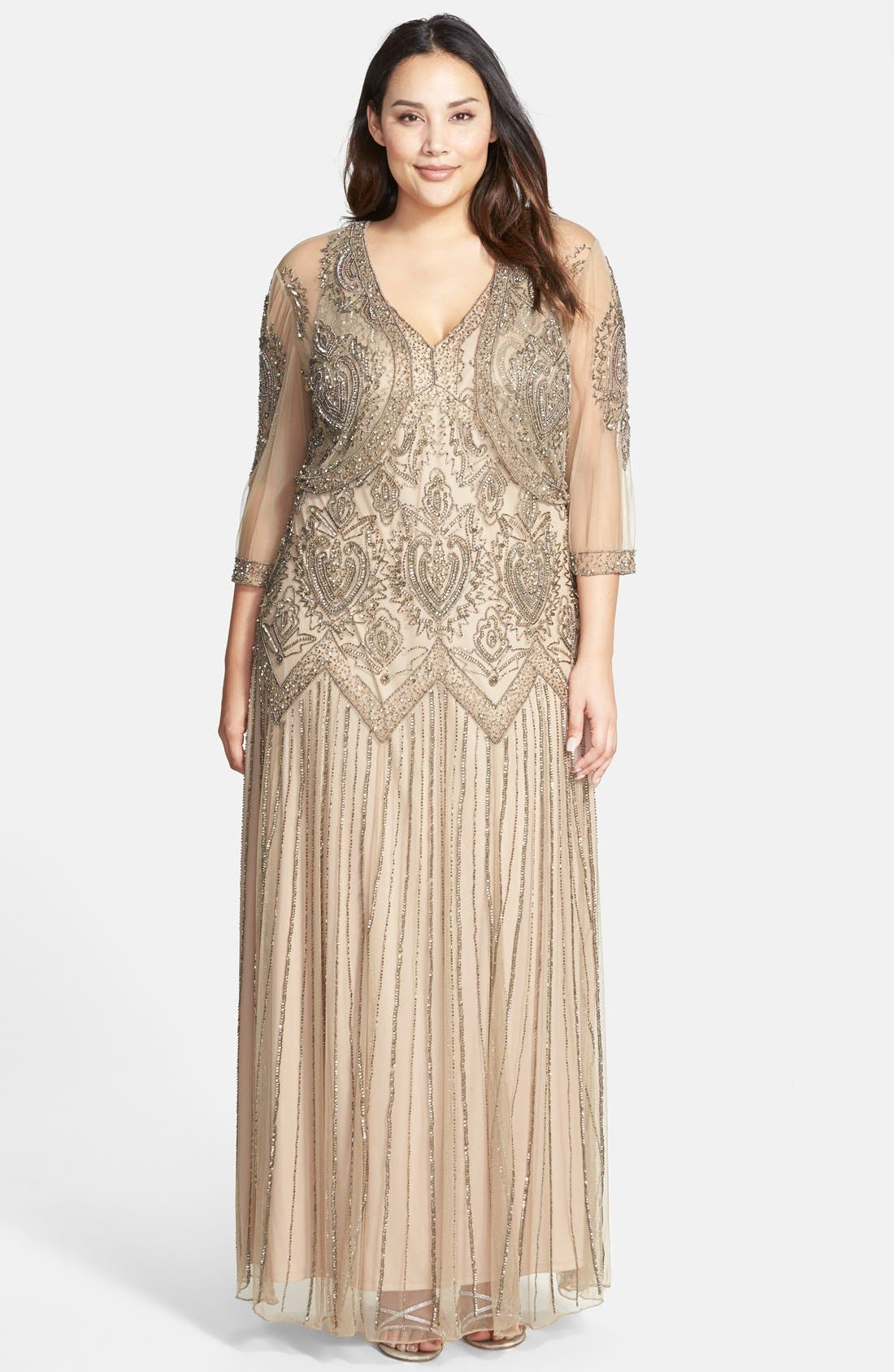 Beaded V-Neck Gown & Jacket,                             Main thumbnail 2, color,