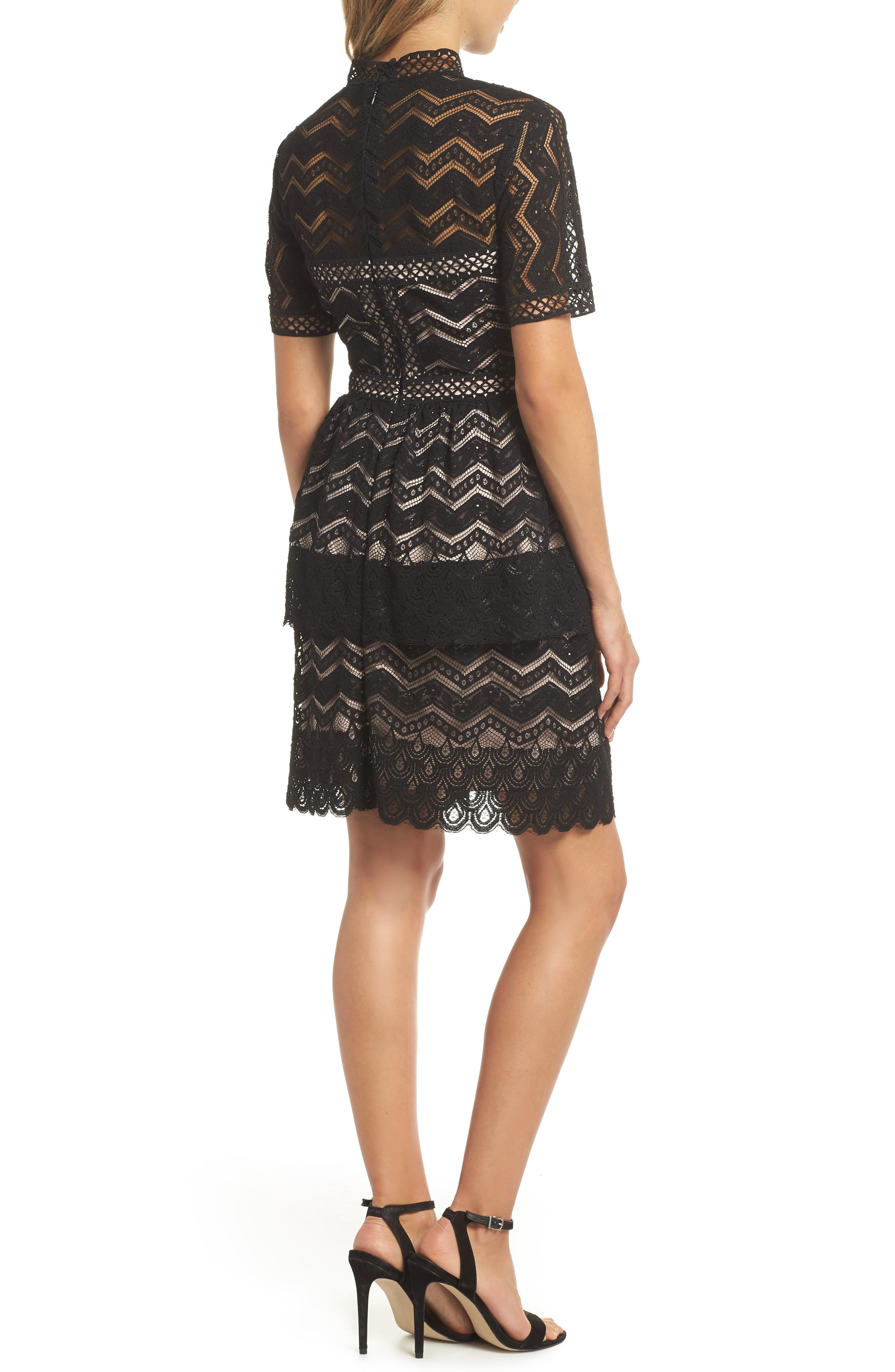 Tiered Lace Fit & Flare Dress,                             Alternate thumbnail 2, color,                             001