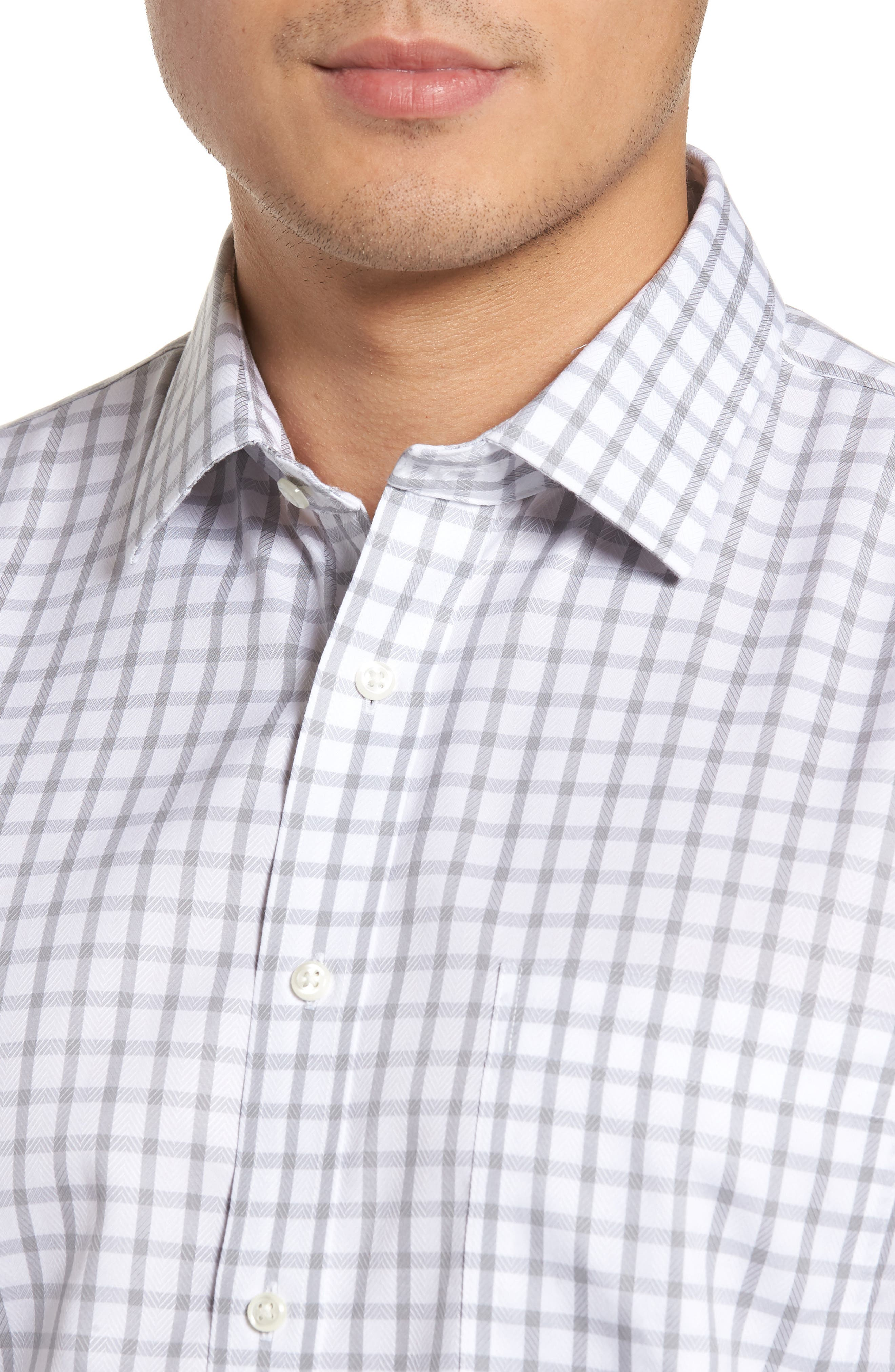 Smartcare<sup>™</sup> Trim Fit Check Dress Shirt,                             Alternate thumbnail 2, color,                             050