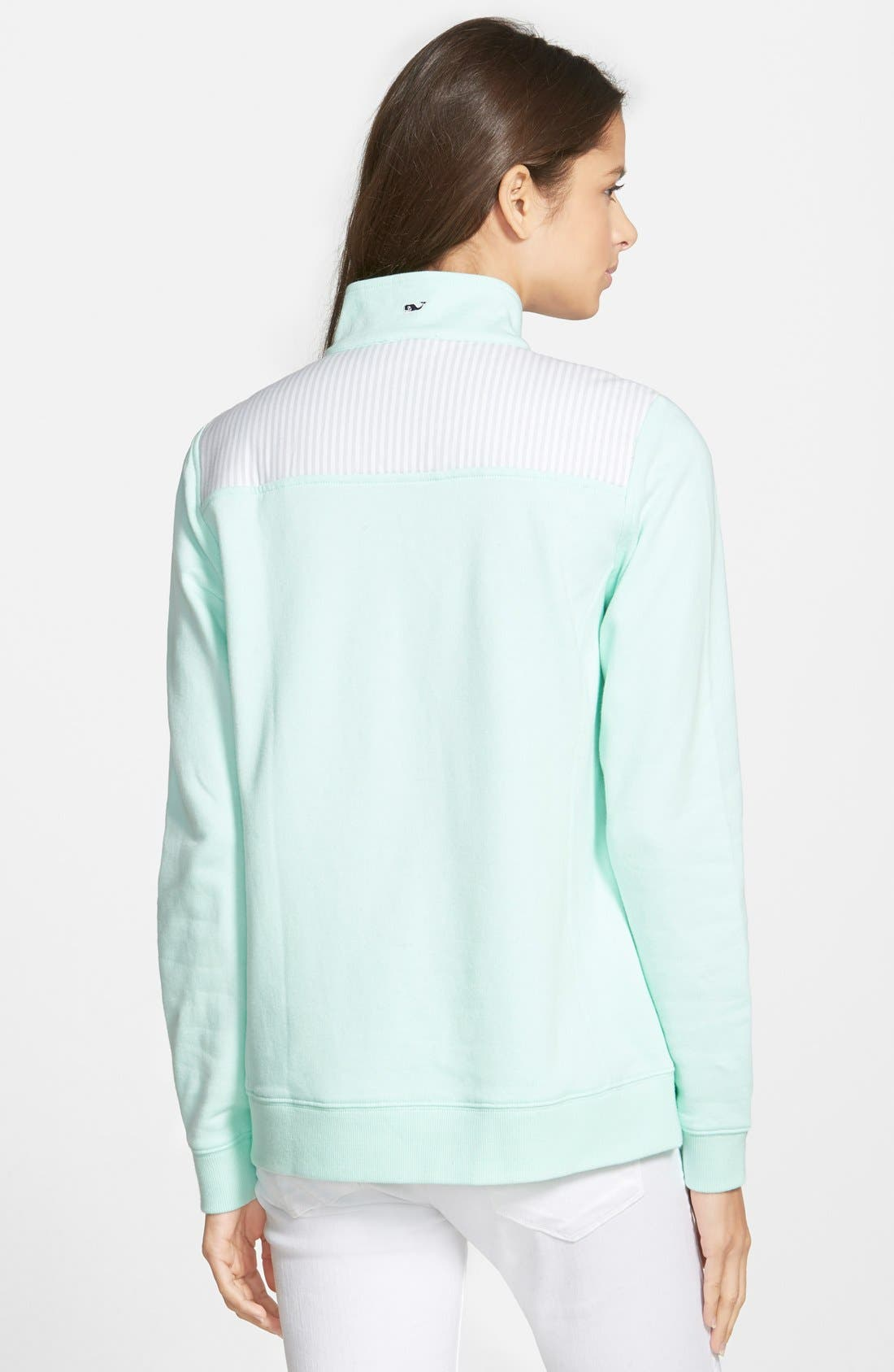 'Shep' Oxford Stripe Quarter Zip Pullover,                             Alternate thumbnail 3, color,                             367