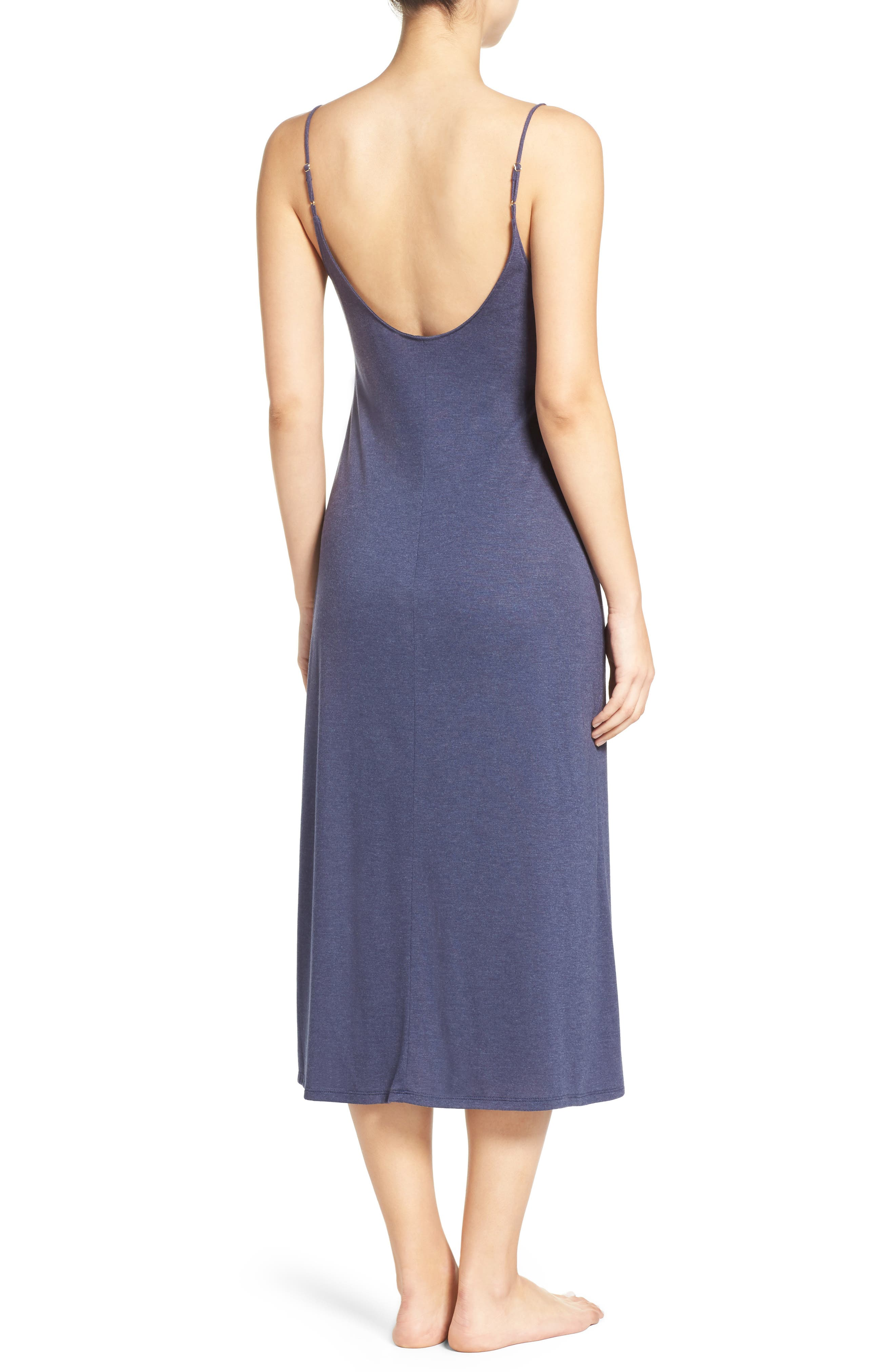 Shangri La Nightgown,                             Alternate thumbnail 2, color,                             HEATHER NIGHT BLUE