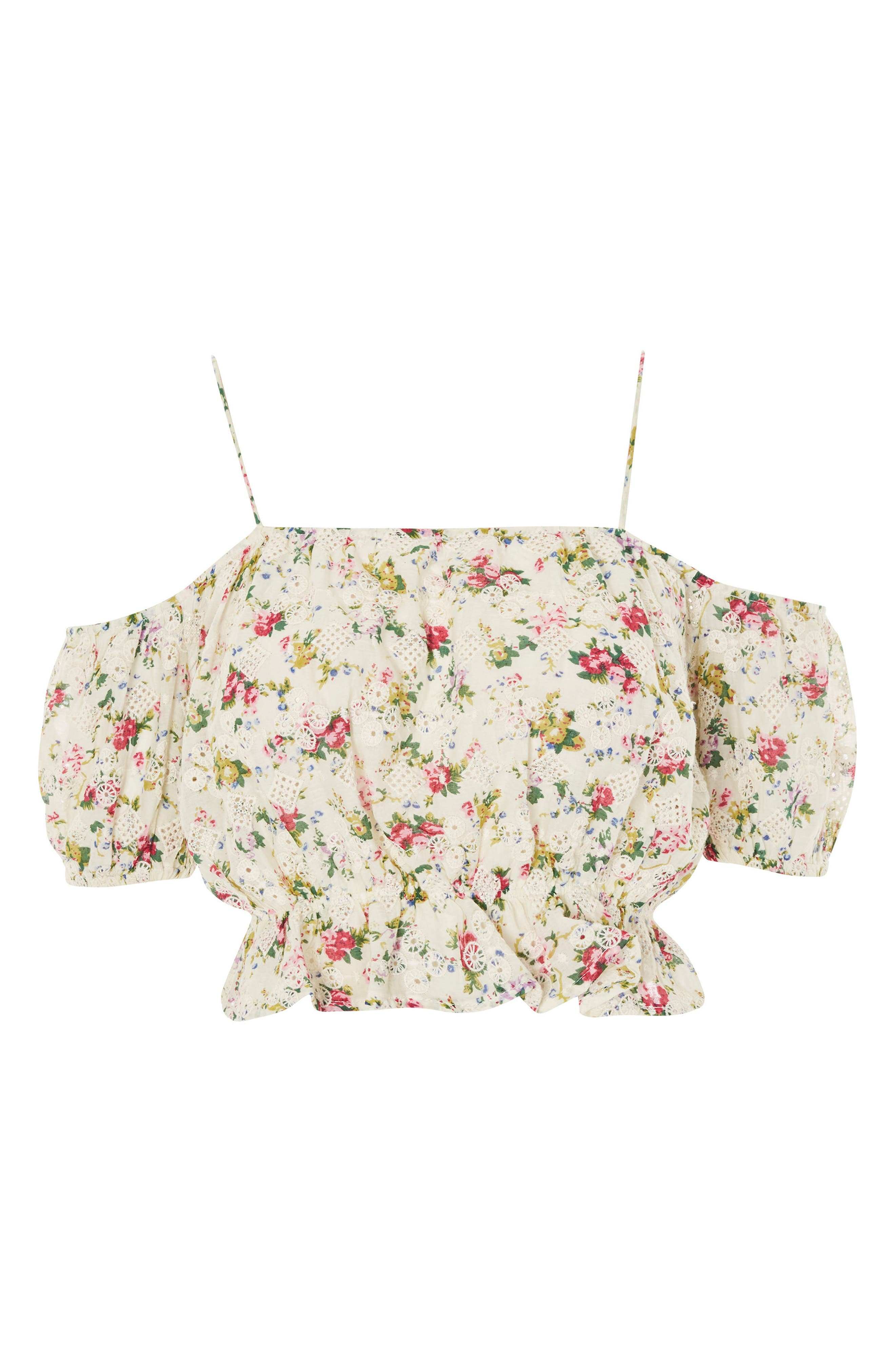 Broderie Floral Print Bardot Top,                             Alternate thumbnail 3, color,