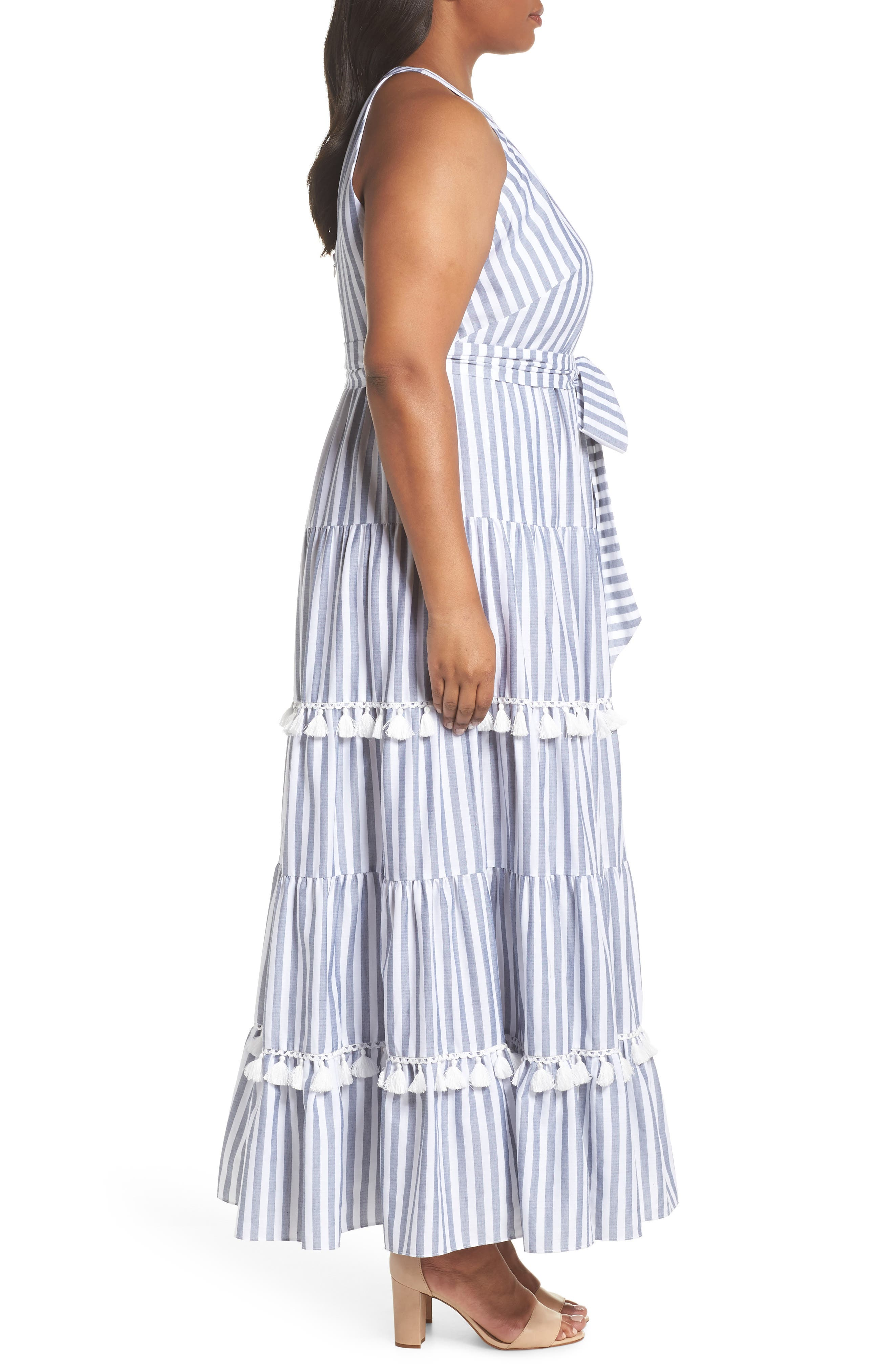 Tiered Stripe Halter Maxi Dress,                             Alternate thumbnail 3, color,                             IVORY