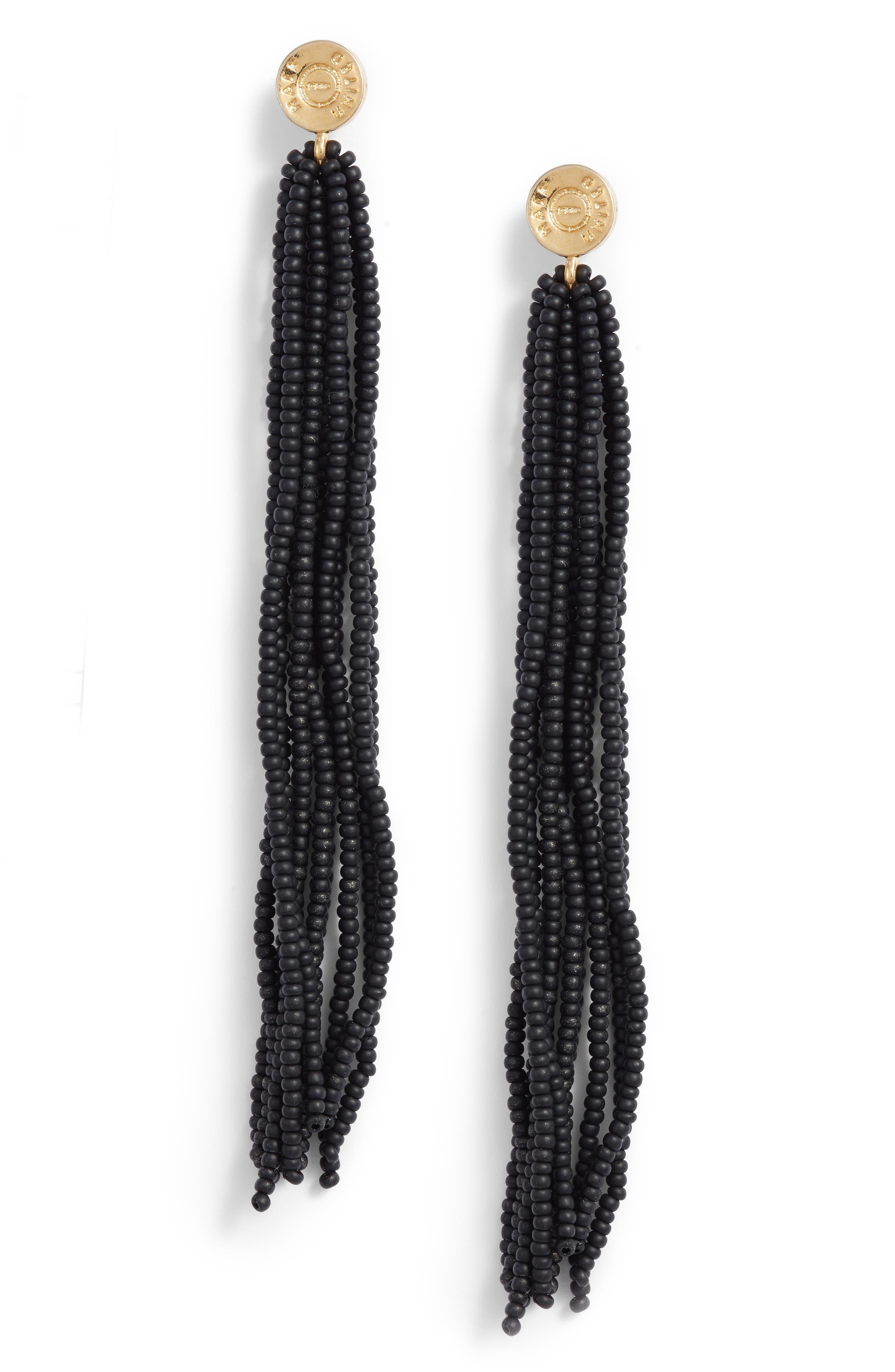 Long Tassel Earrings, Main, color, NAVY