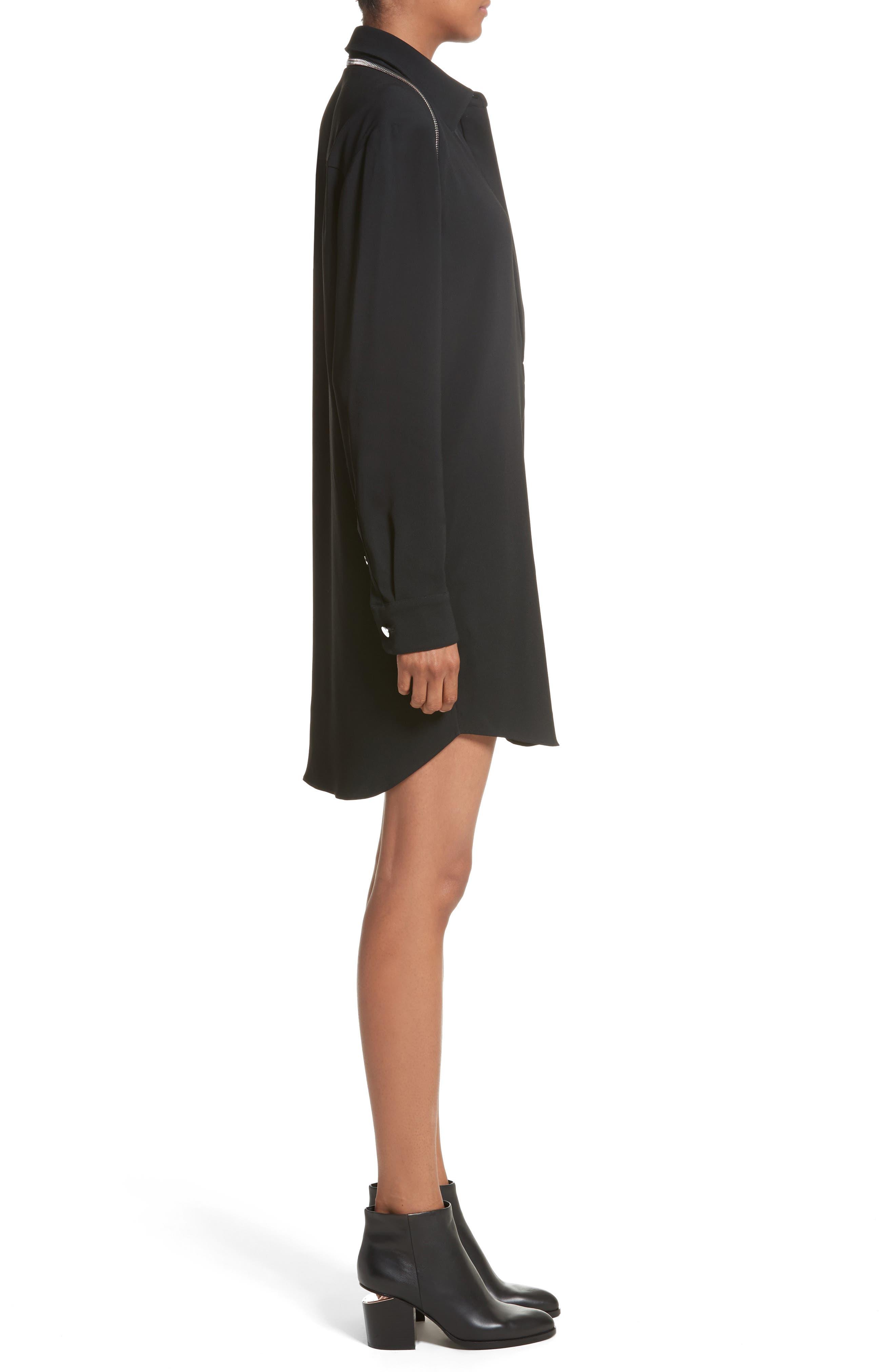 Zipper Shoulder Detail Dress,                             Alternate thumbnail 3, color,                             001