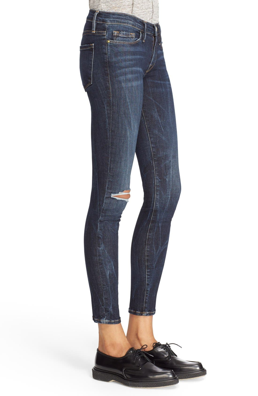 FRAME,                             'Le Skinny' Ripped Crop Jeans,                             Alternate thumbnail 3, color,                             401