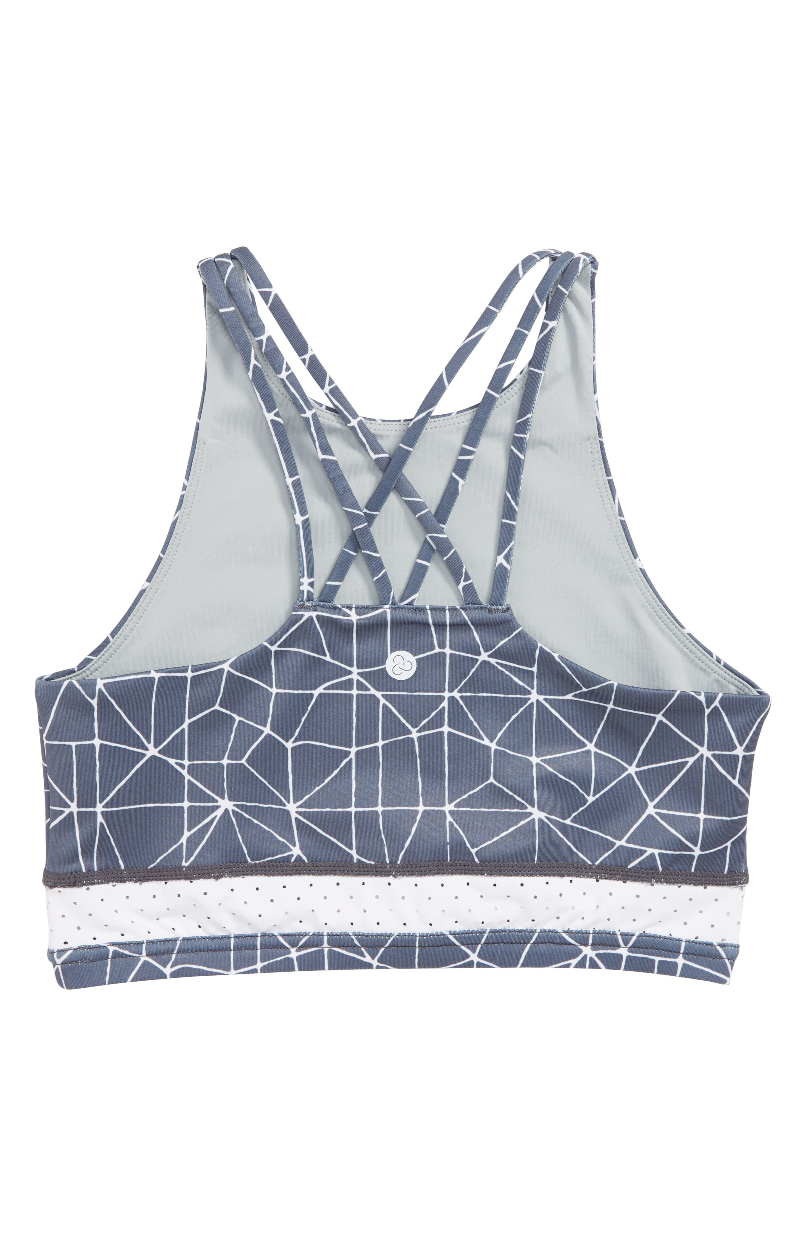 Strappy Racerback Sports Bra,                             Alternate thumbnail 2, color,                             GREY GRAPHITE CRACKLE