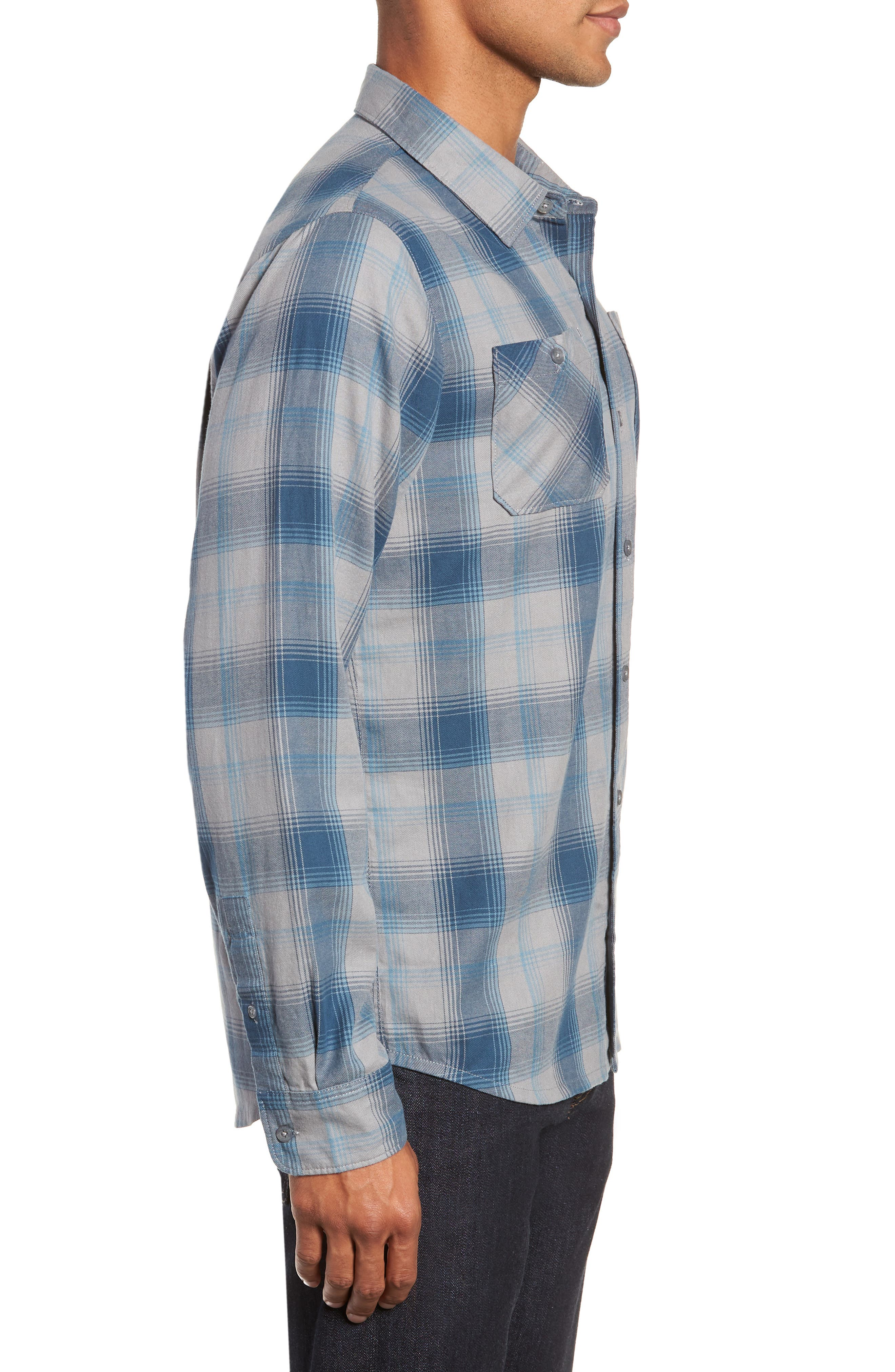 Insider Regular Fit Plaid Flannel Sport Shirt,                             Alternate thumbnail 4, color,                             BLUE WING TEAL