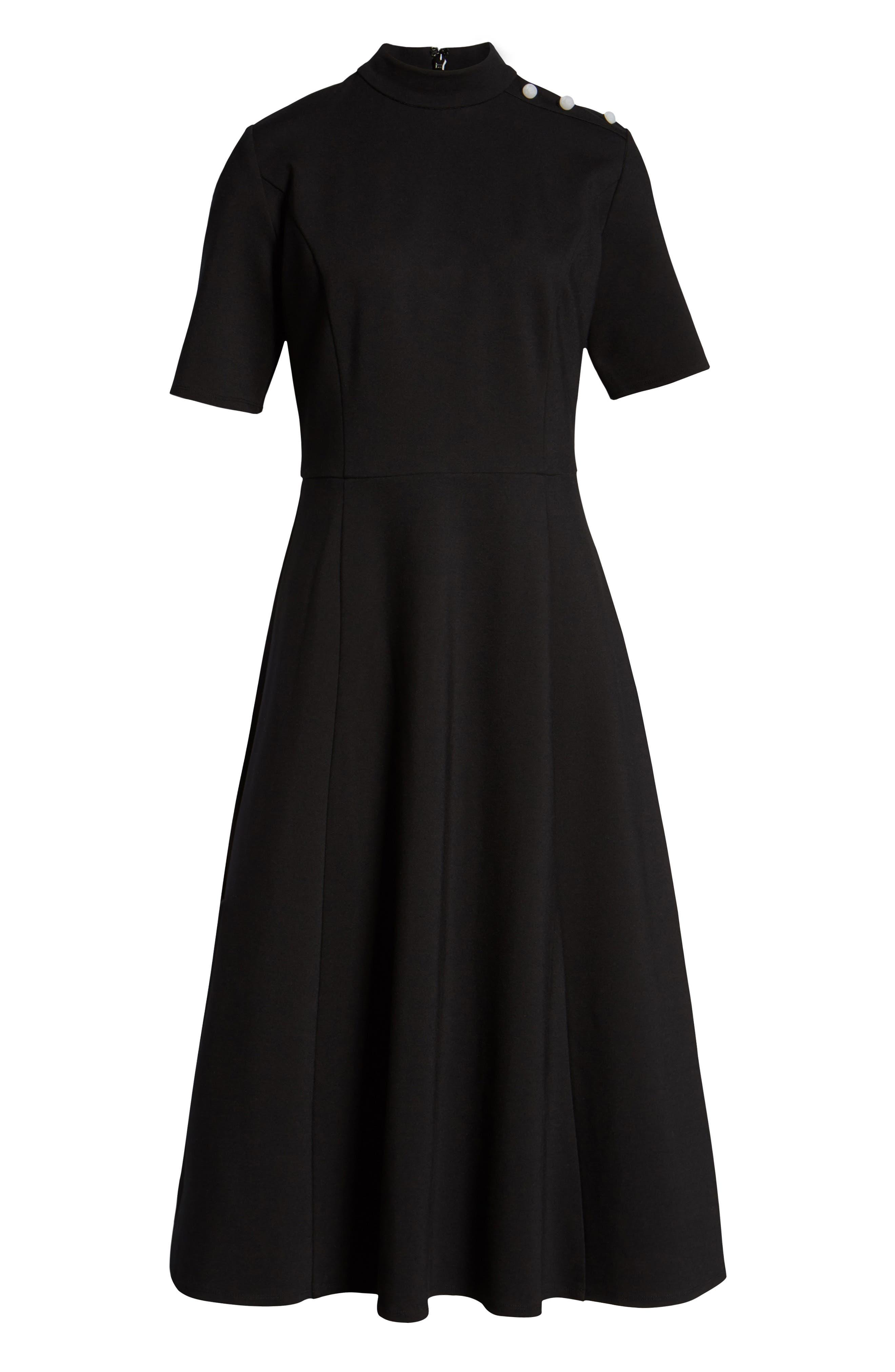 x Atlantic-Pacific Stretch Ponte Dress,                             Alternate thumbnail 7, color,                             001
