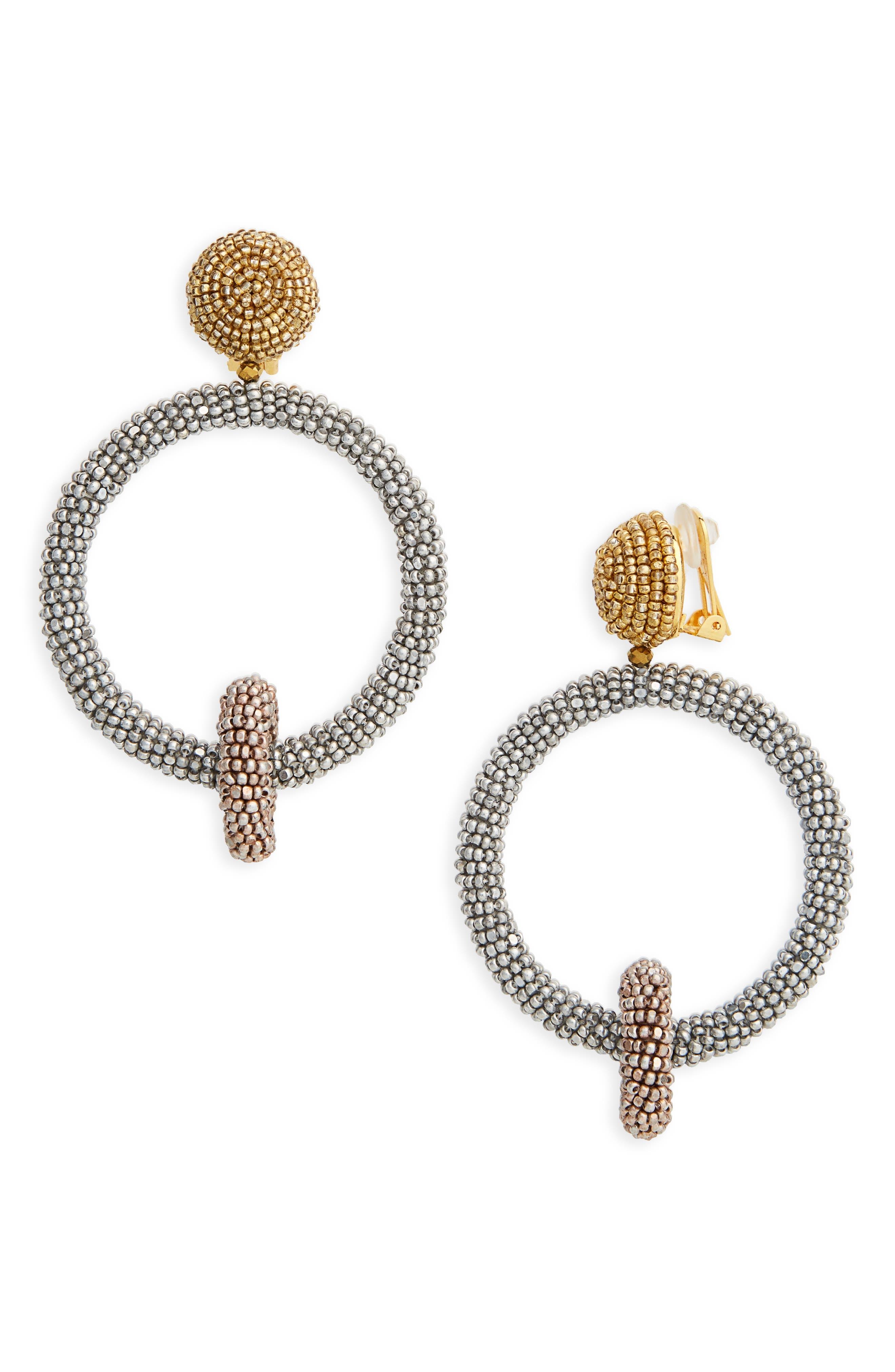 Beaded Drop Earrings,                         Main,                         color, SILVER