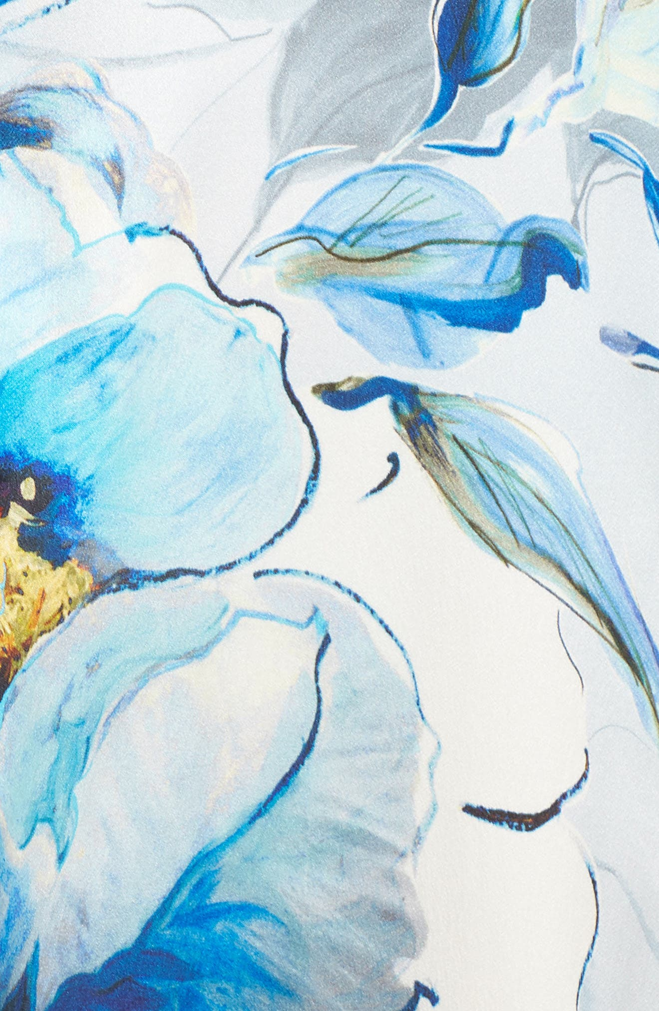 Silk Caftan,                             Alternate thumbnail 5, color,                             SWEPT AWAY PRINT