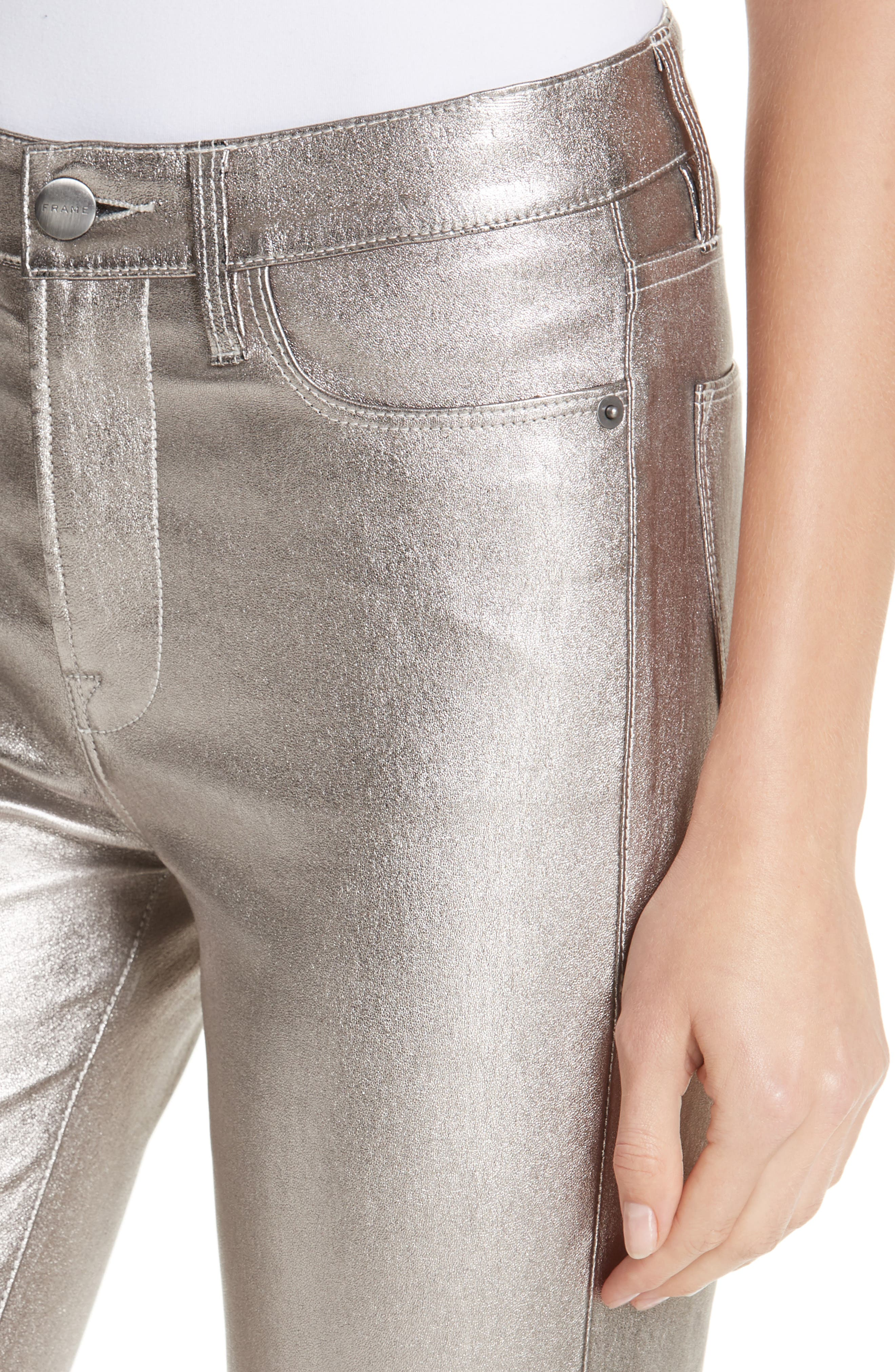 Straight Leg Metallic Leather Pants,                             Alternate thumbnail 4, color,                             LIGHT STEEL