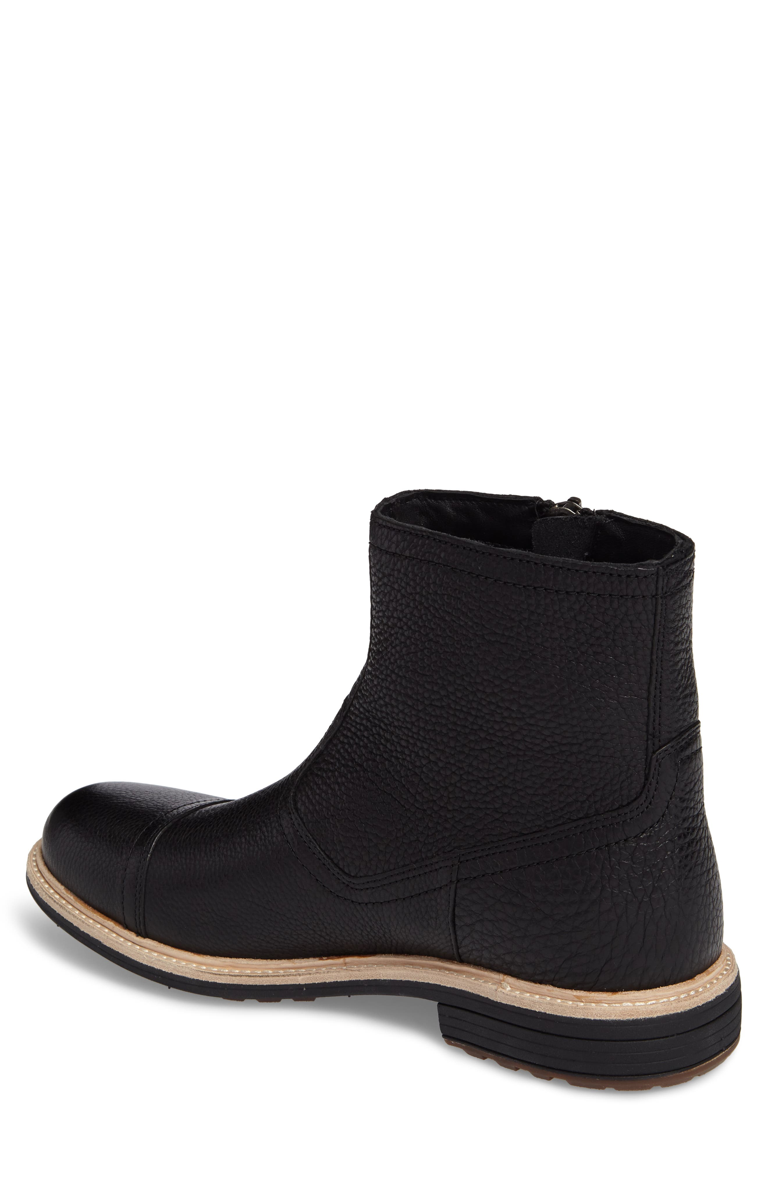 Dalvin Zip Boot with Genuine Shearling,                             Alternate thumbnail 2, color,                             BLACK