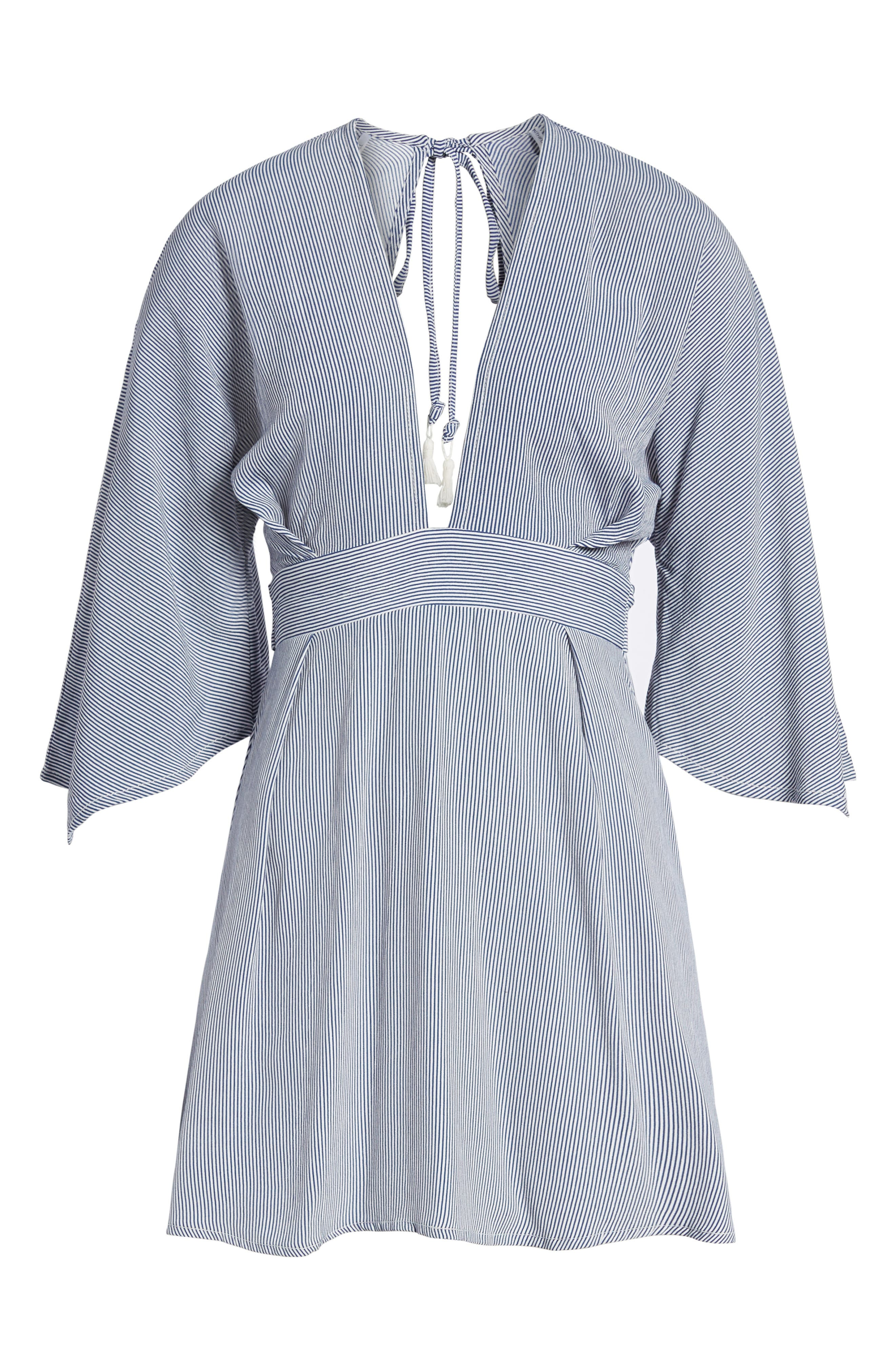 Nova Stripe Lace-Up Shirtdress,                             Alternate thumbnail 7, color,                             400
