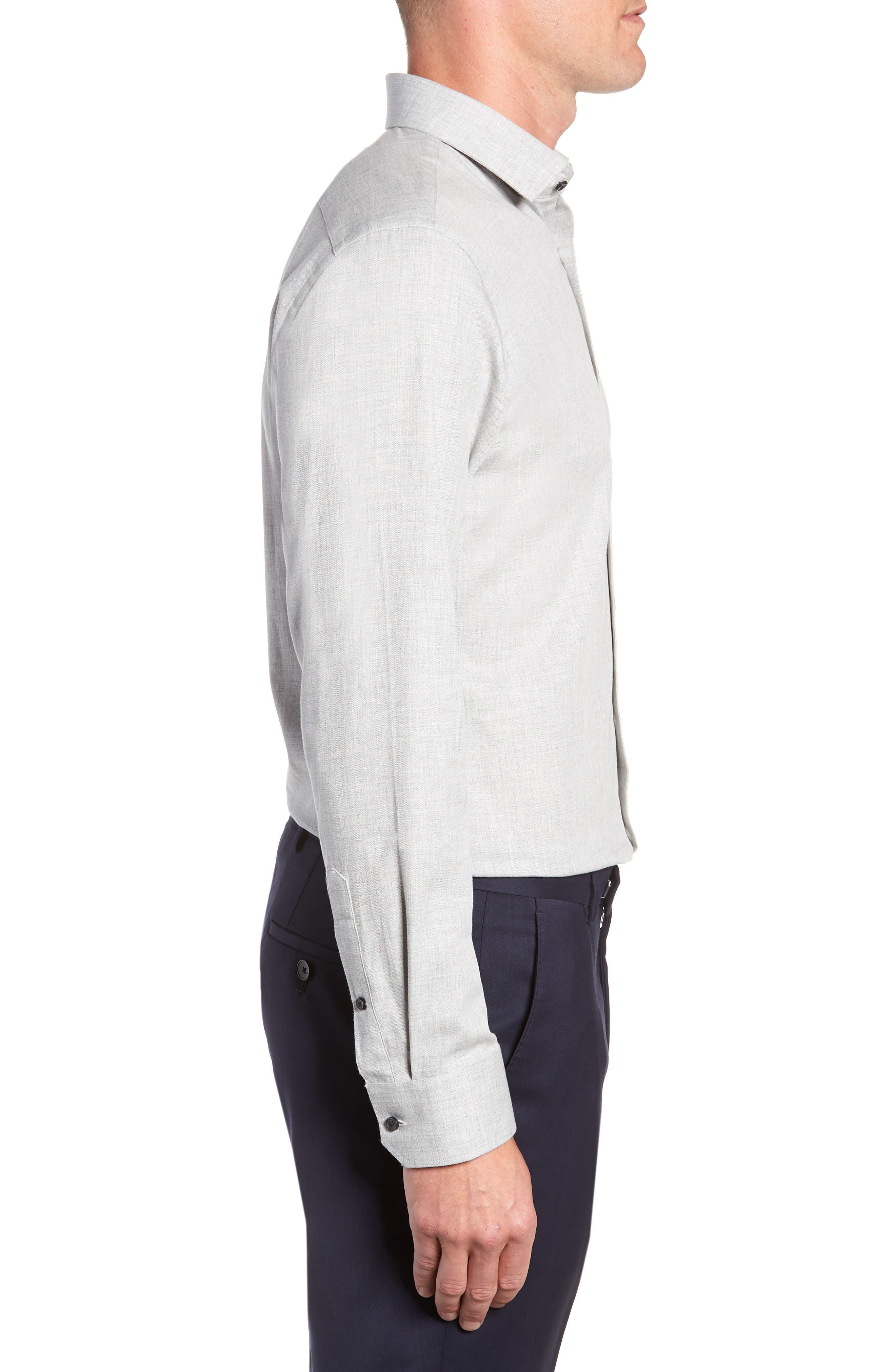 Trim Fit Herringbone Dress Shirt,                             Alternate thumbnail 4, color,                             GREY MICRO