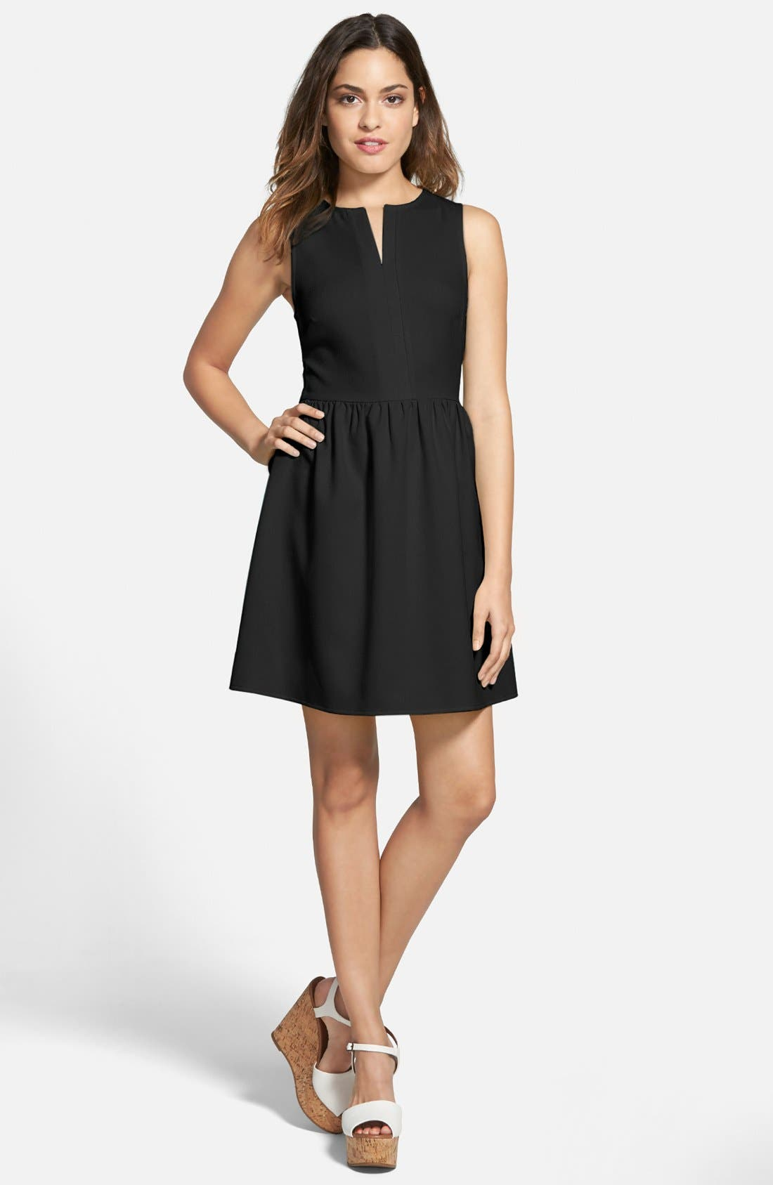 EVERLY 'Rowan' V-Neck Skater Dress, Main, color, 001