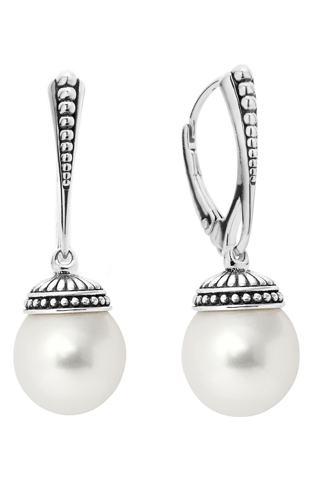 'Luna' Pearl Drop Earrings,                             Main thumbnail 1, color,                             SILVER/ PEARL