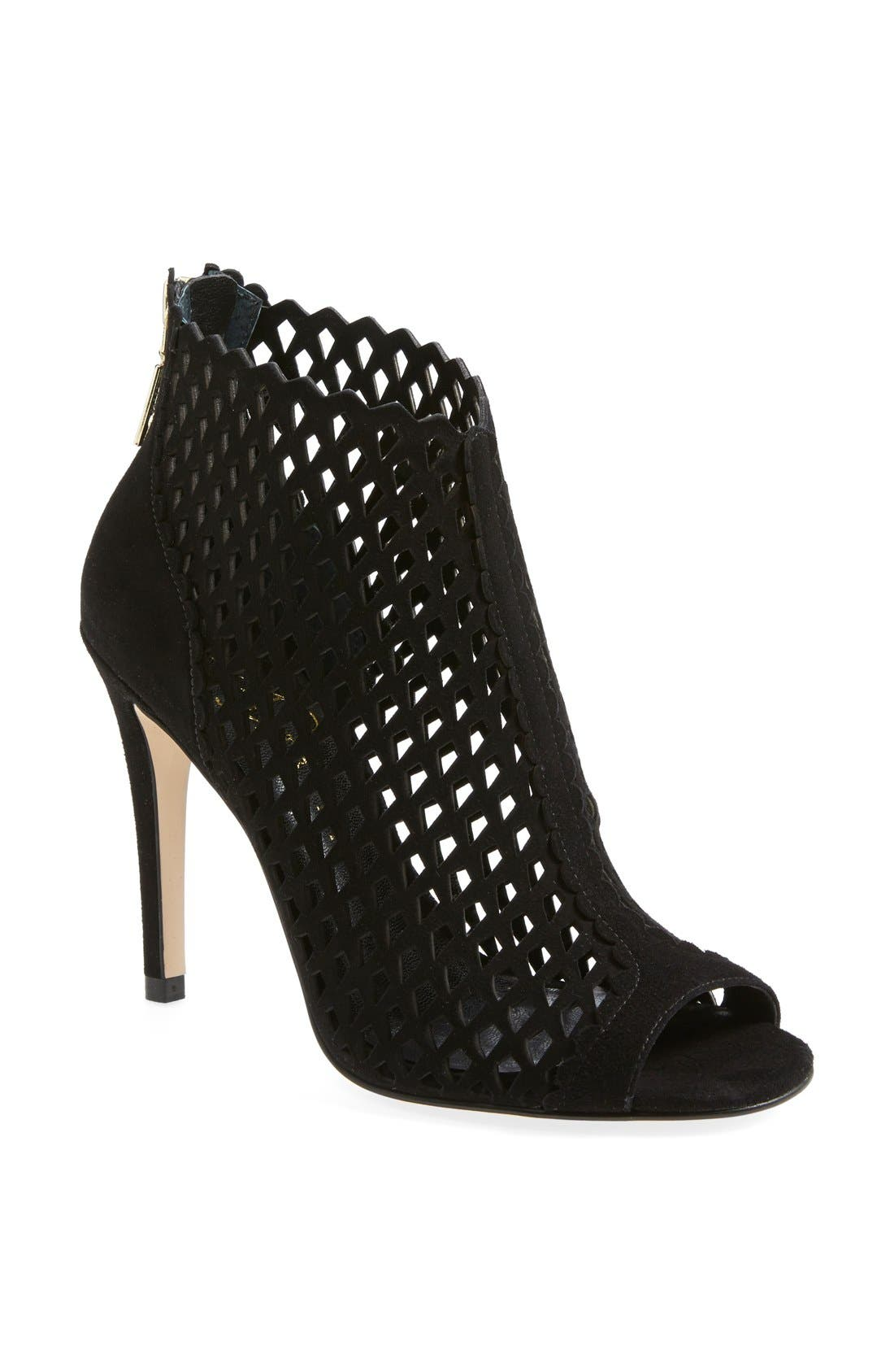 'Didia' Cutout Cage Open Toe Suede Bootie,                             Main thumbnail 1, color,                             001