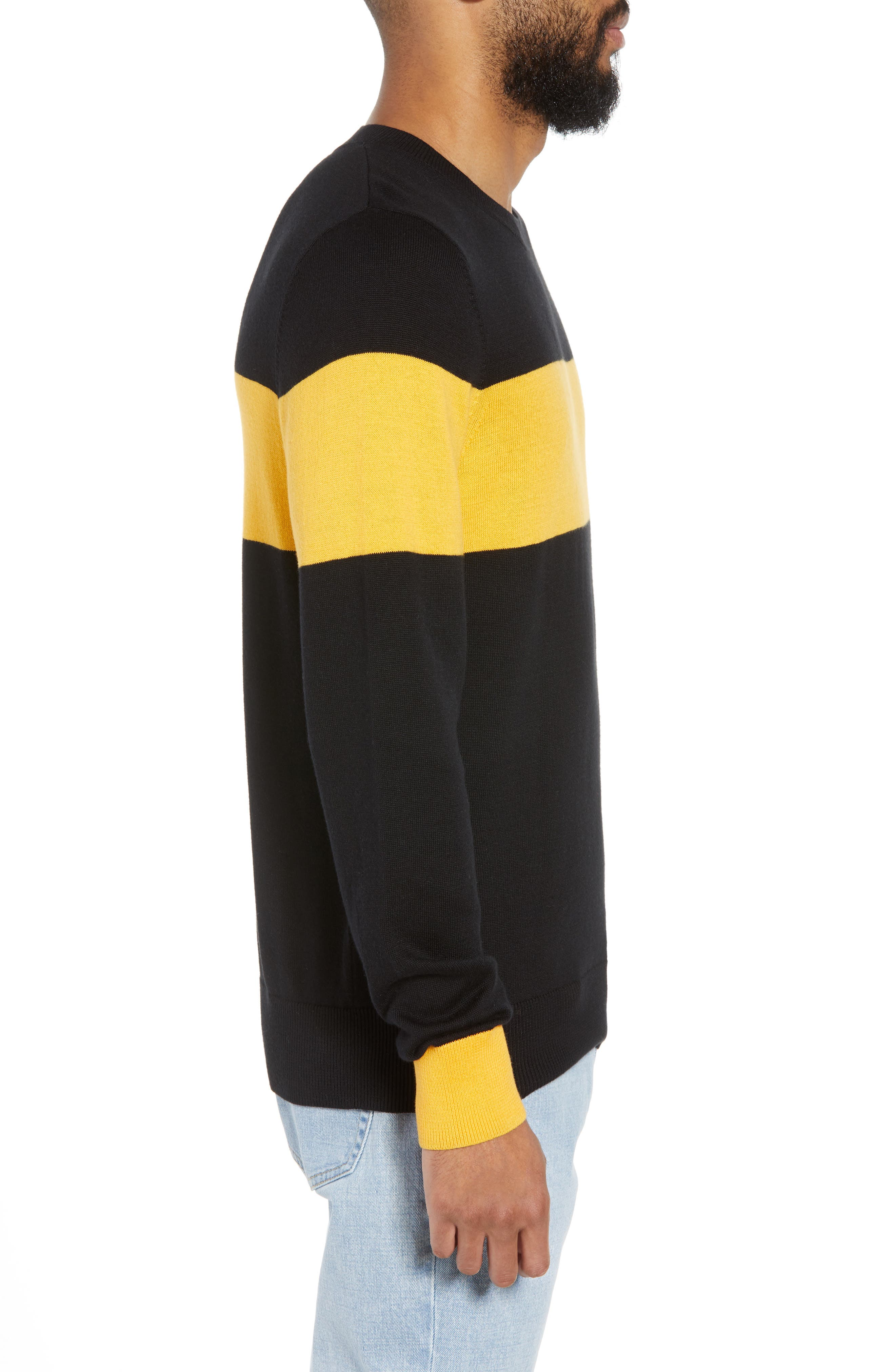 Rugby Stripe Sweater,                             Alternate thumbnail 3, color,                             BLACK YELLOW RUGBY STRIPE