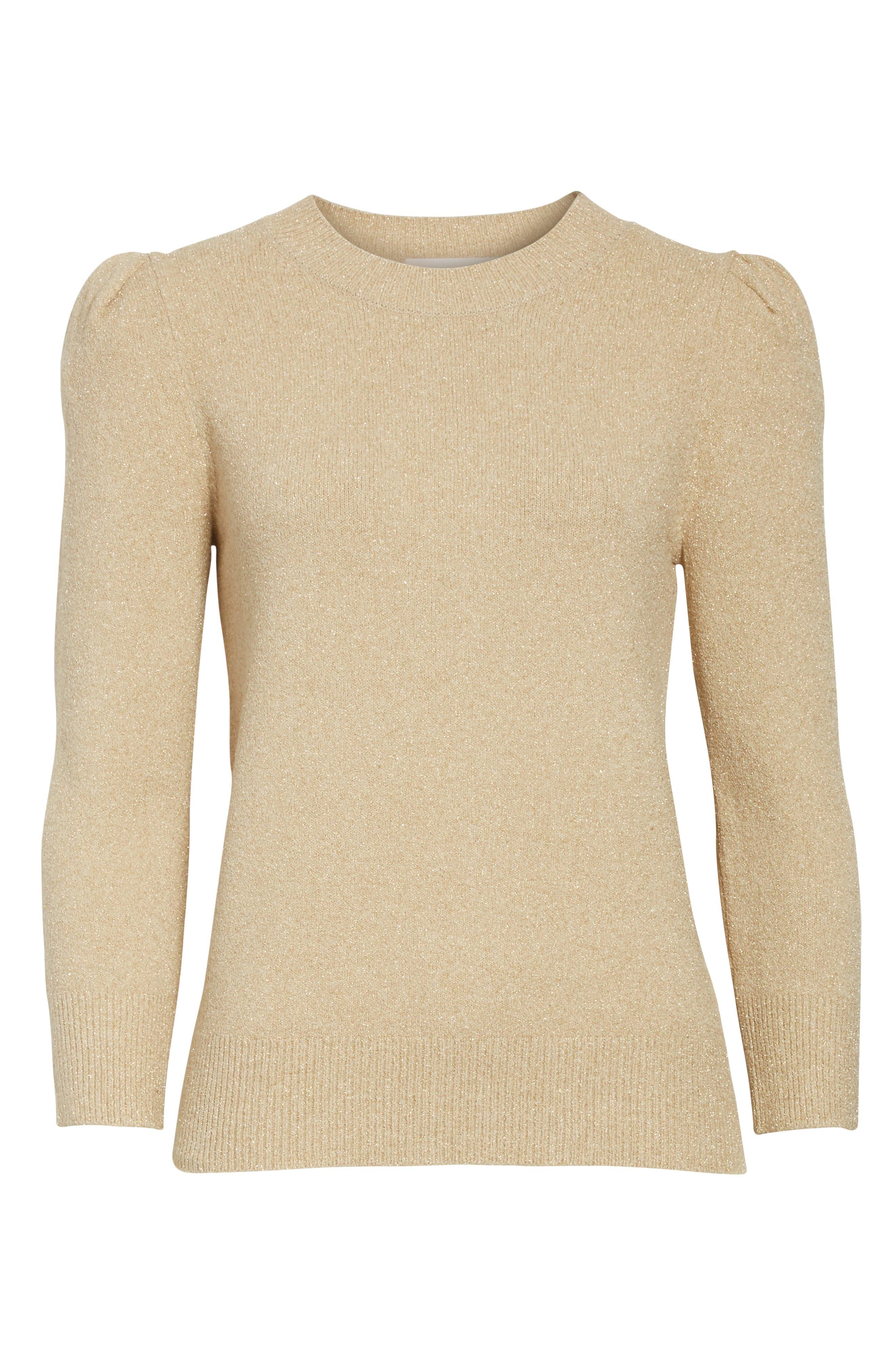 Metallic Knit Puff Sleeve Sweater,                             Alternate thumbnail 6, color,                             200