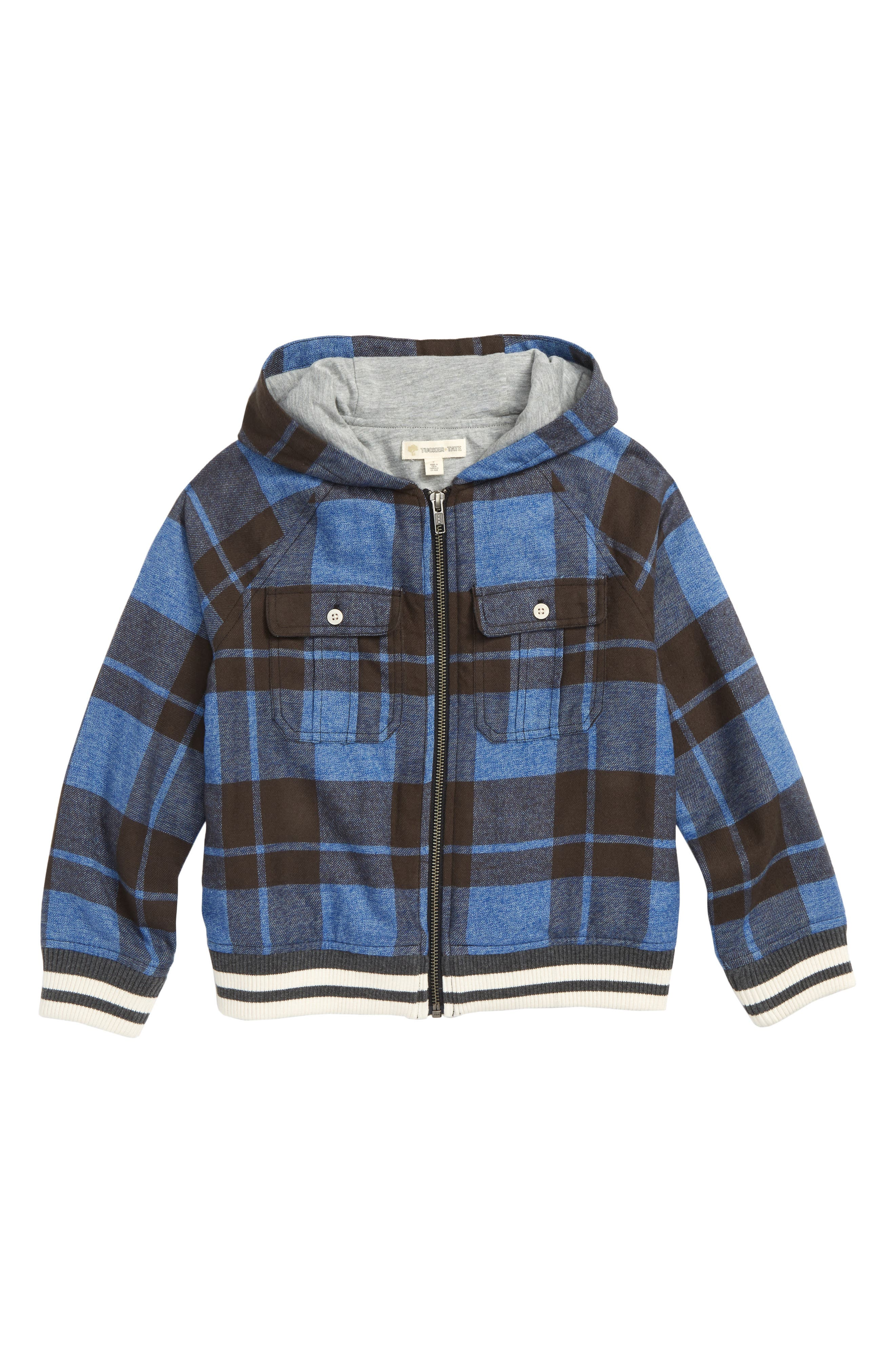 Plaid Hooded Jacket,                         Main,                         color, 401