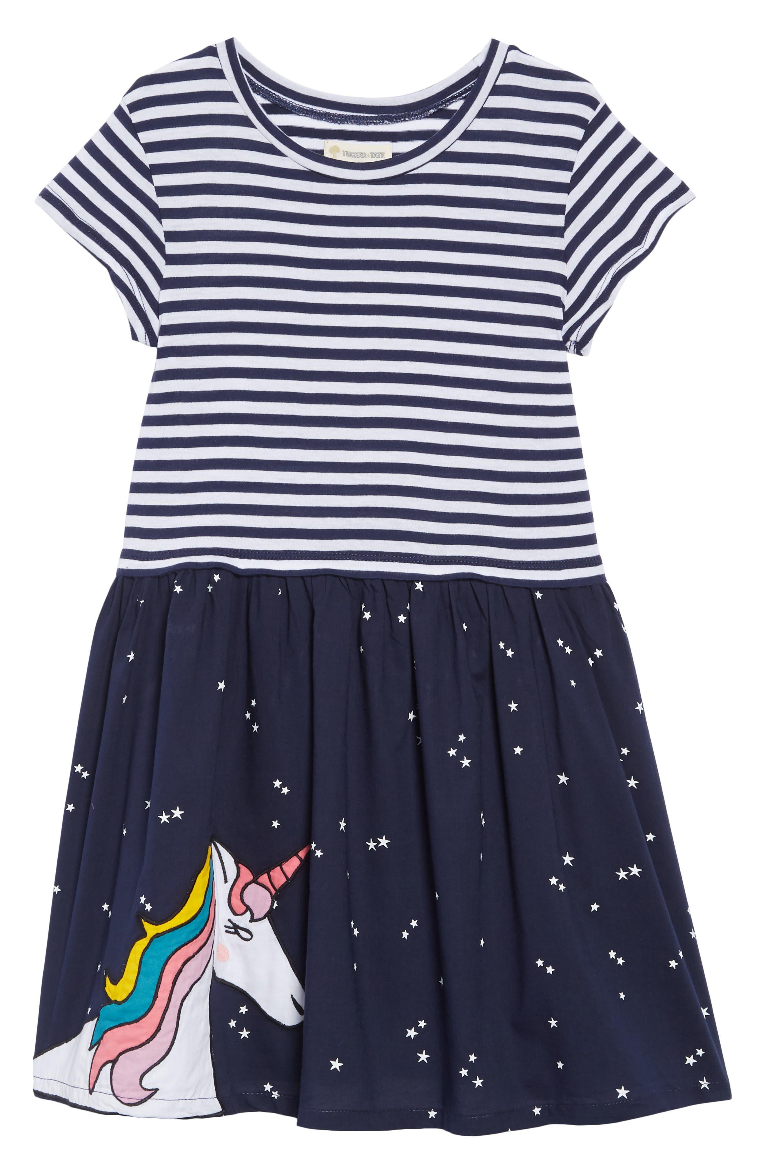 Appliqué Dress,                             Main thumbnail 1, color,                             NAVY PEACOAT- WHITE UNICORN