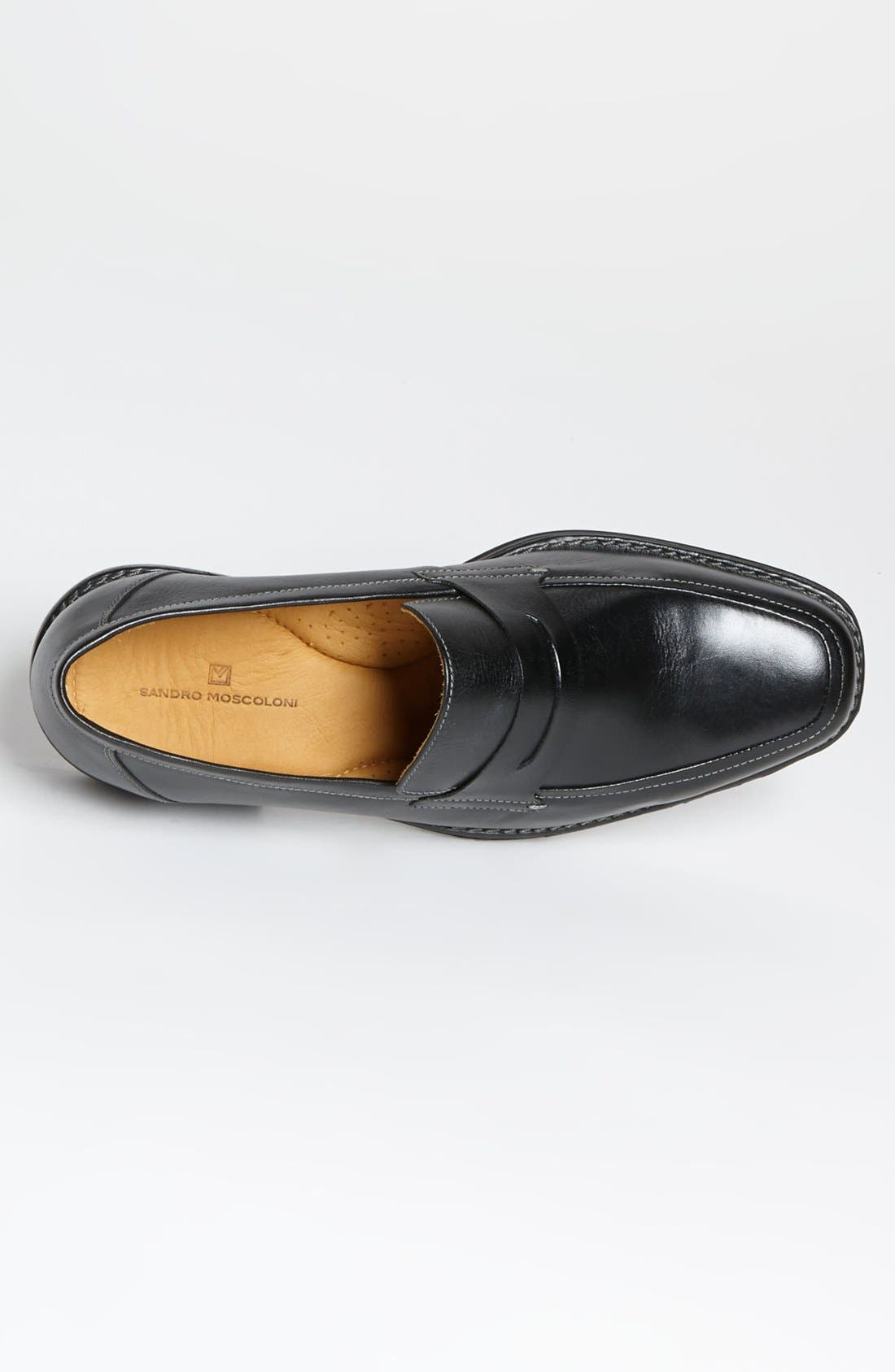 'Stuart' Penny Loafer,                             Alternate thumbnail 3, color,                             BLACK