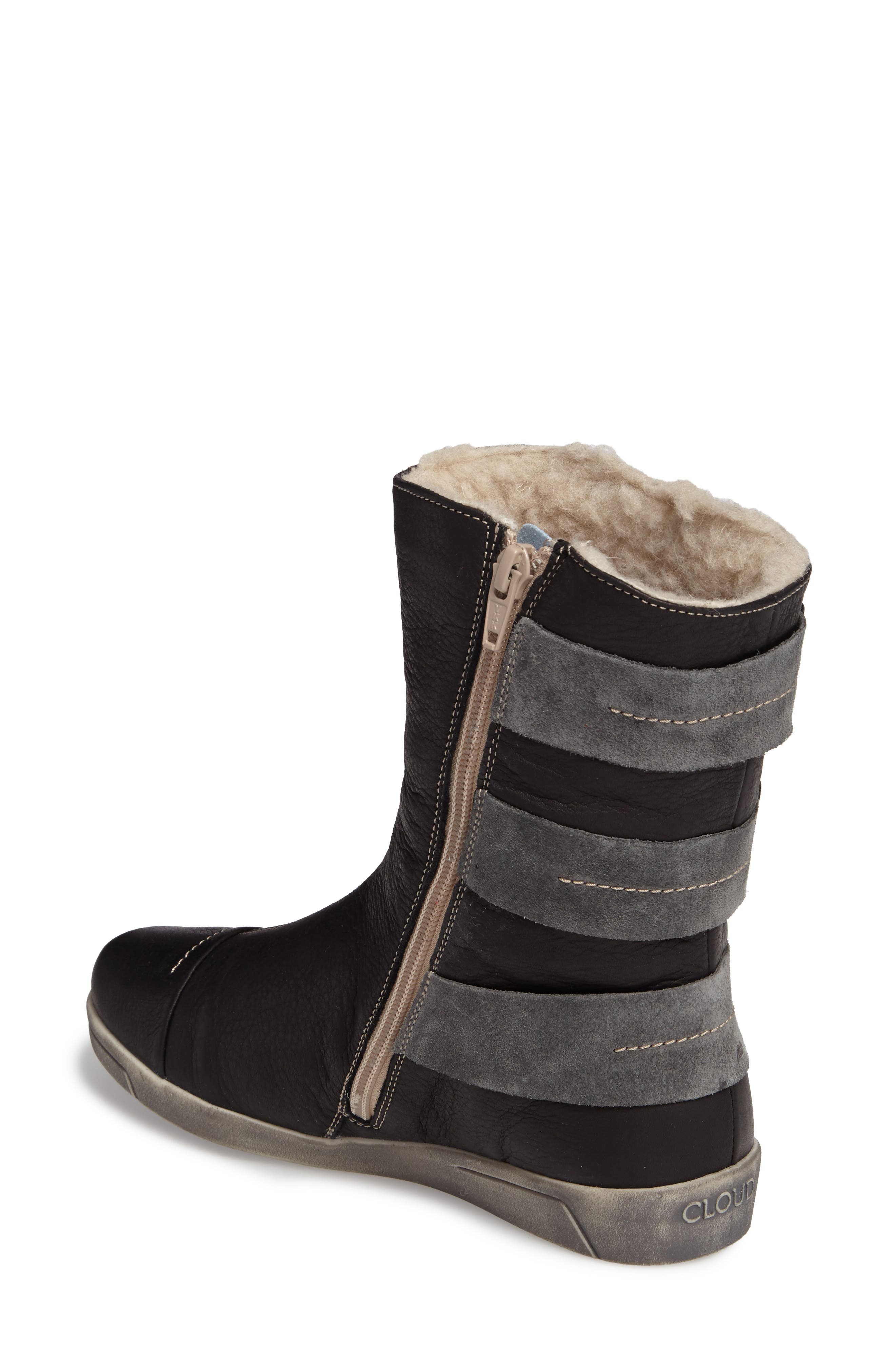 Amber Wool Lined Bootie,                             Alternate thumbnail 2, color,                             BLACK LEATHER