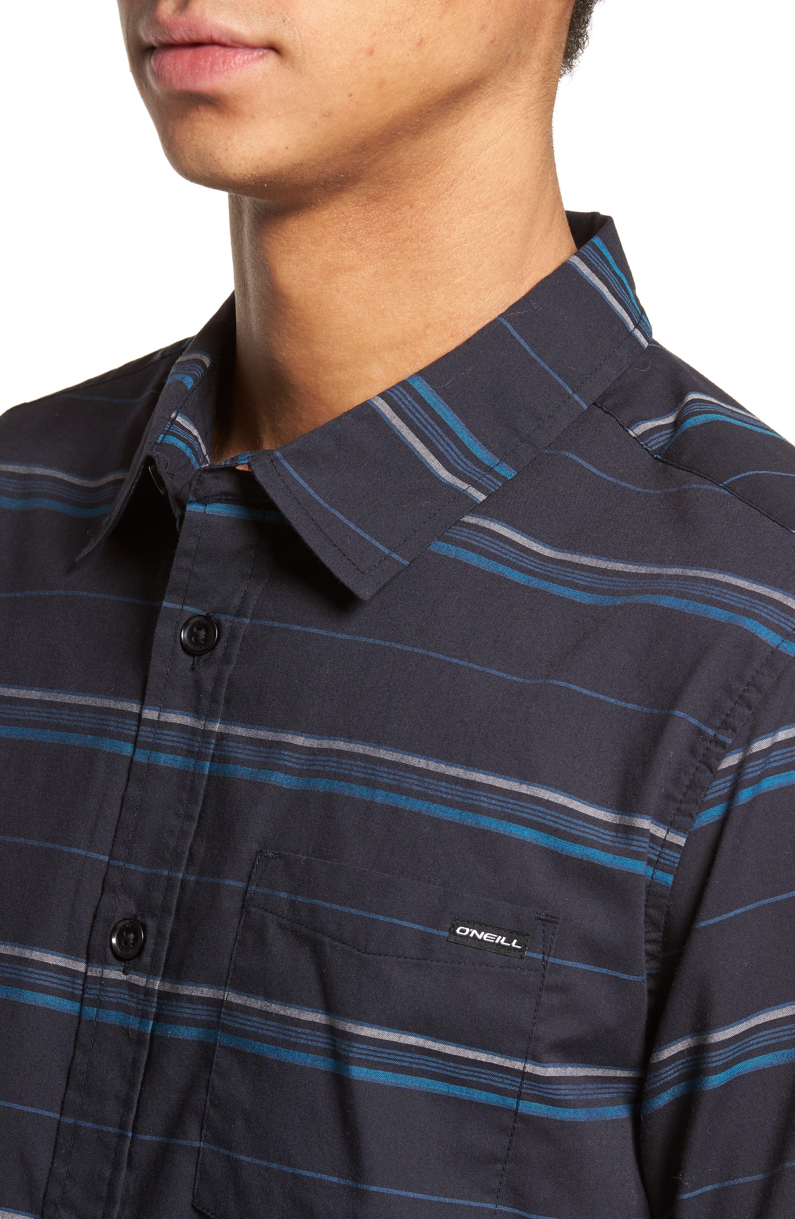 Striped Woven Shirt,                             Alternate thumbnail 4, color,                             410
