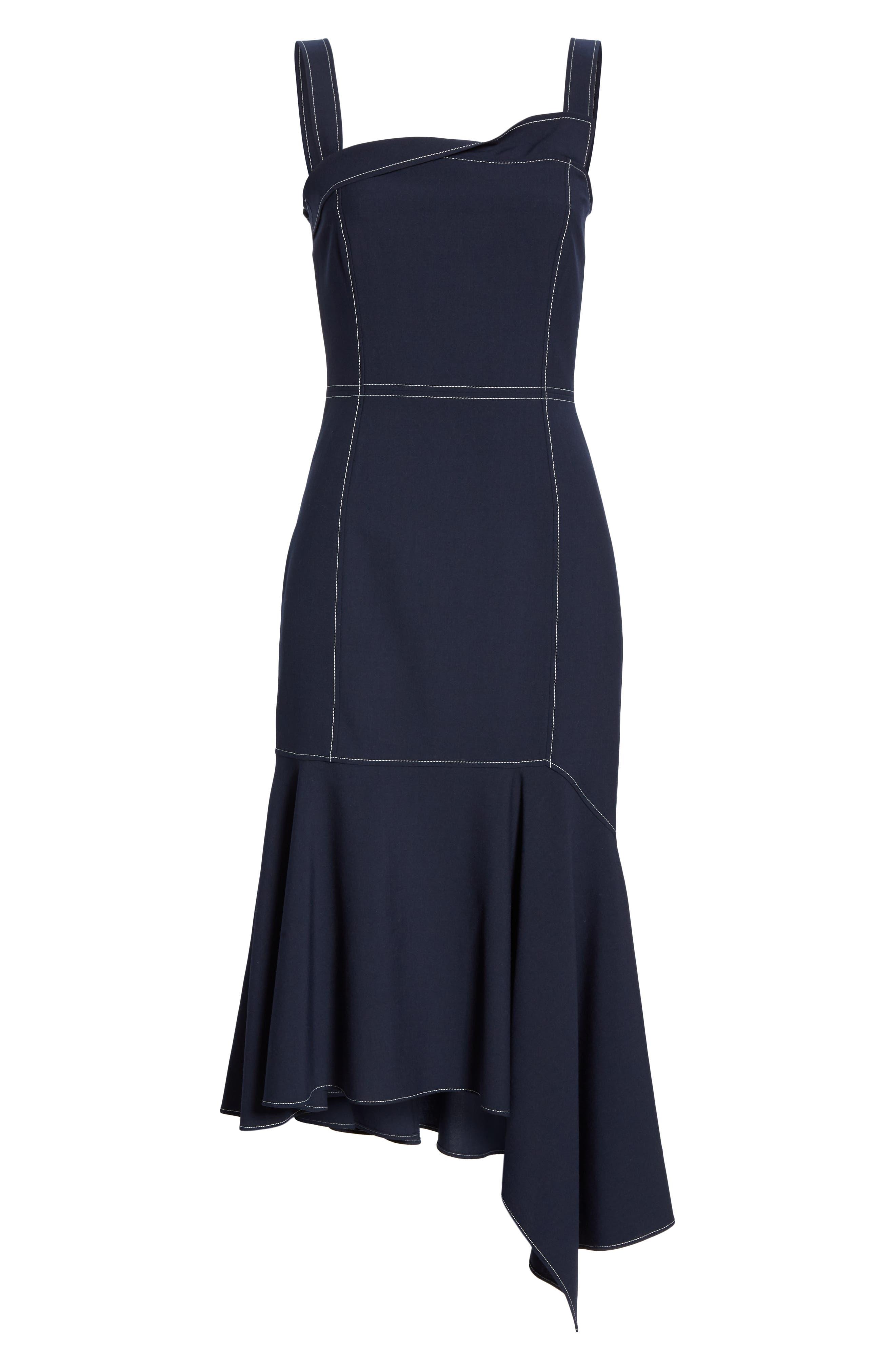 ADEAM,                             Bustier Handkerchief Dress,                             Alternate thumbnail 7, color,                             MIDNIGHT BLUE