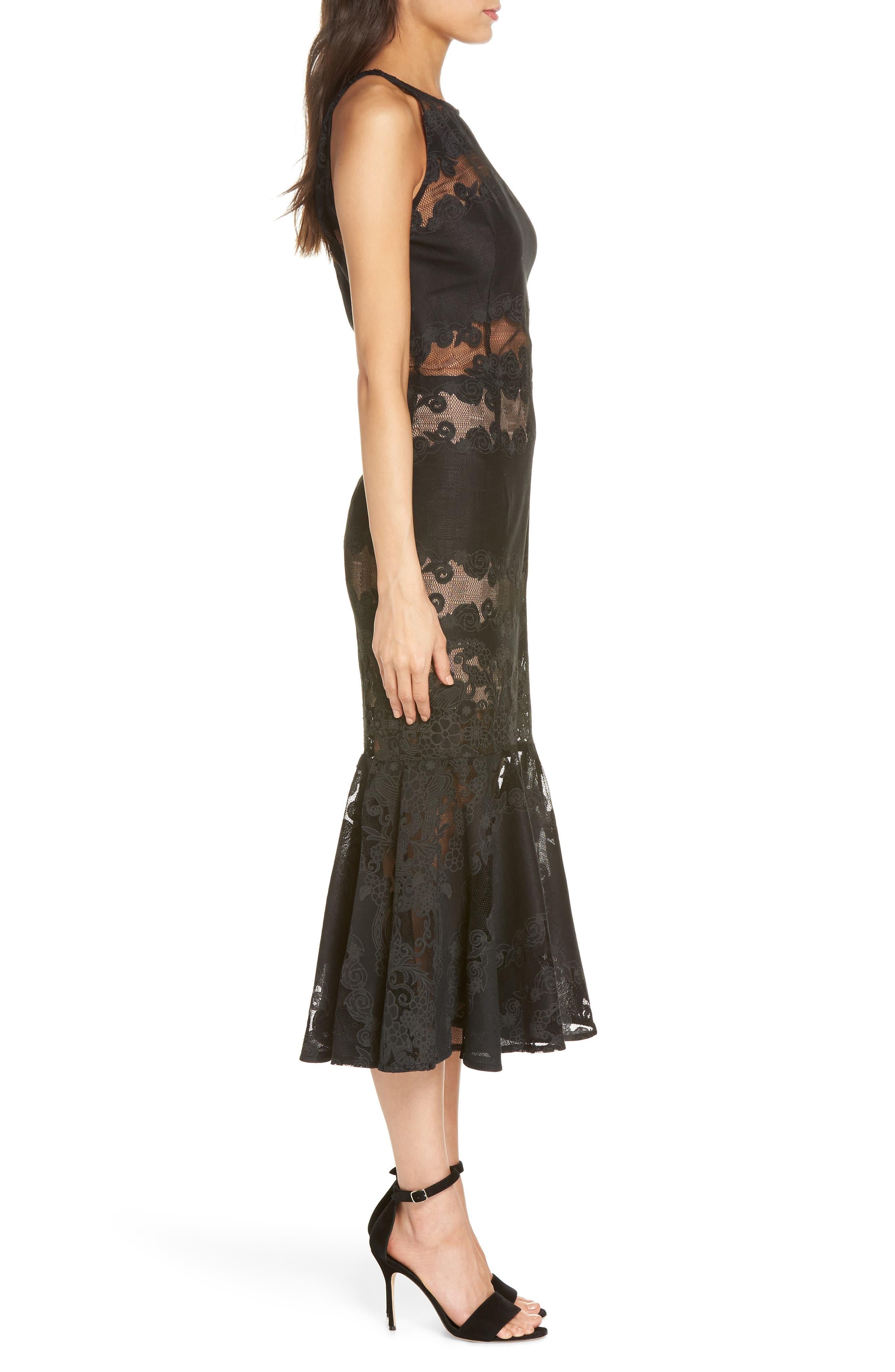 Bettina Lace Panel Tea Length Dress,                             Alternate thumbnail 3, color,                             BLACK
